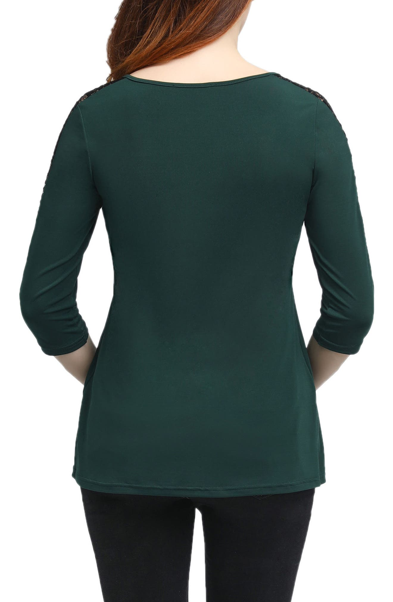Lucy Lace Accent Pleated Maternity Top,                             Alternate thumbnail 2, color,                             Forrest Green