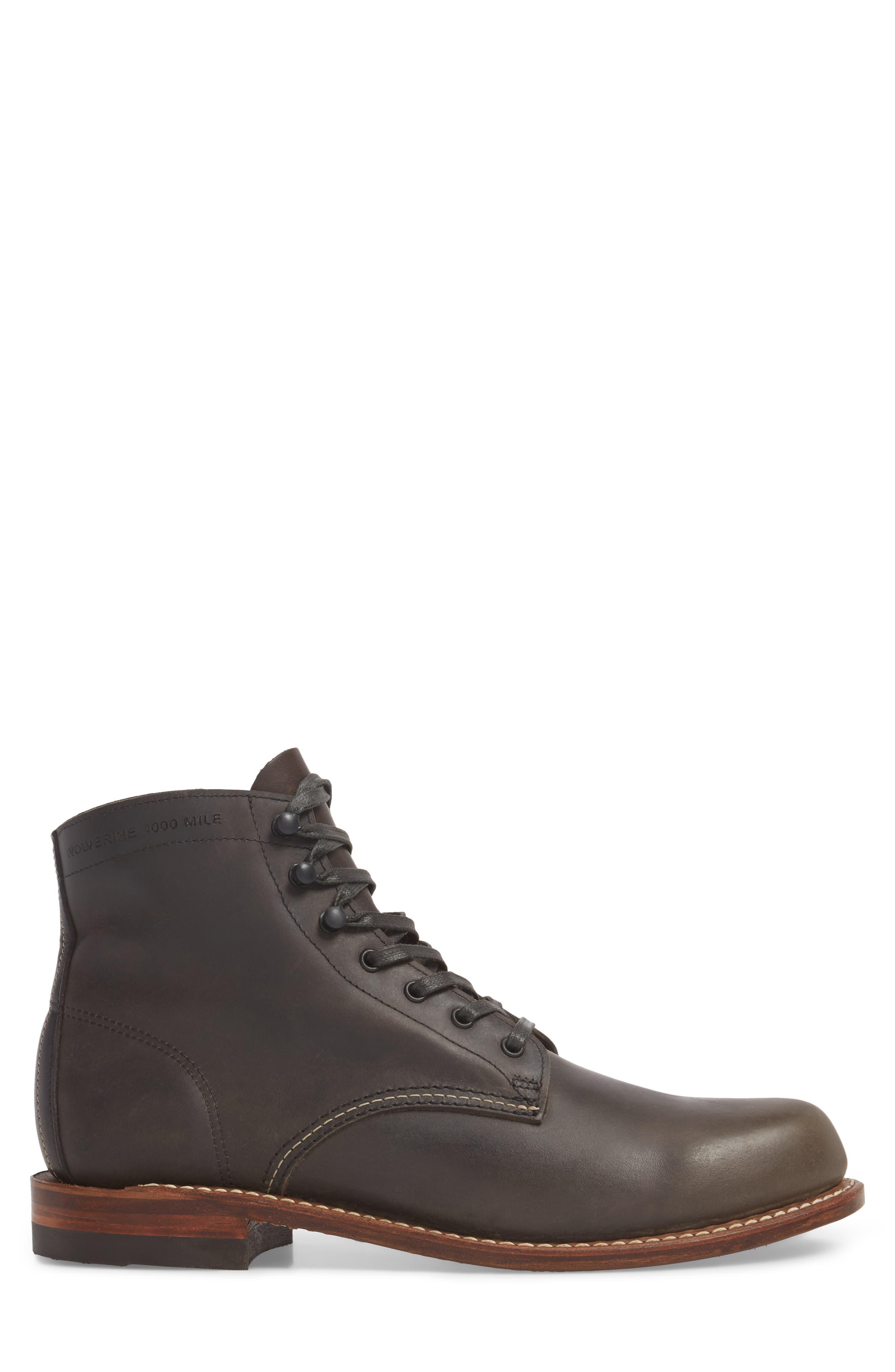 '1000 Mile' Plain Toe Boot,                             Alternate thumbnail 4, color,                             Charcoal