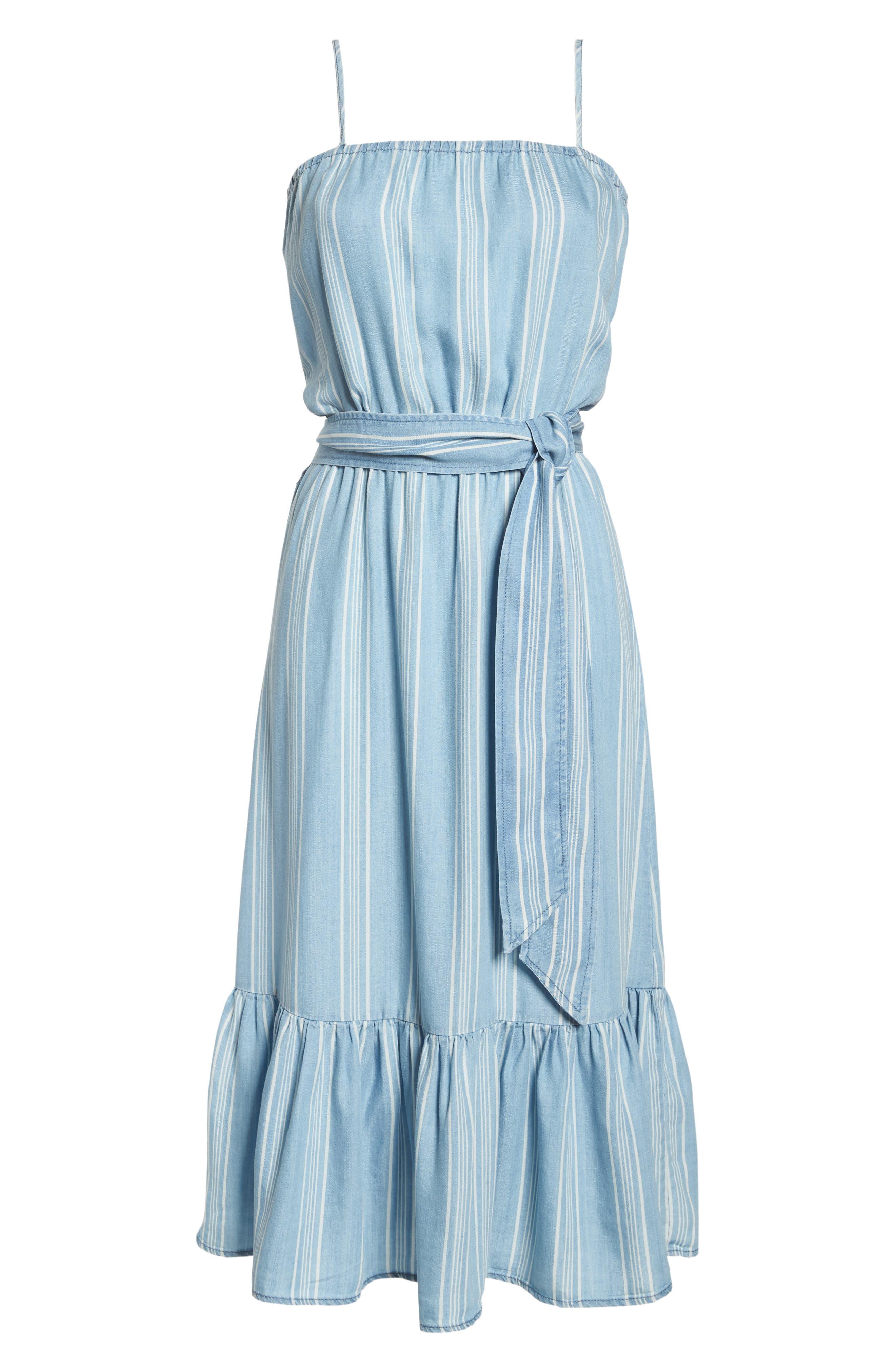 Tailyn Stripe Midi Dress,                             Alternate thumbnail 7, color,                             Chambray