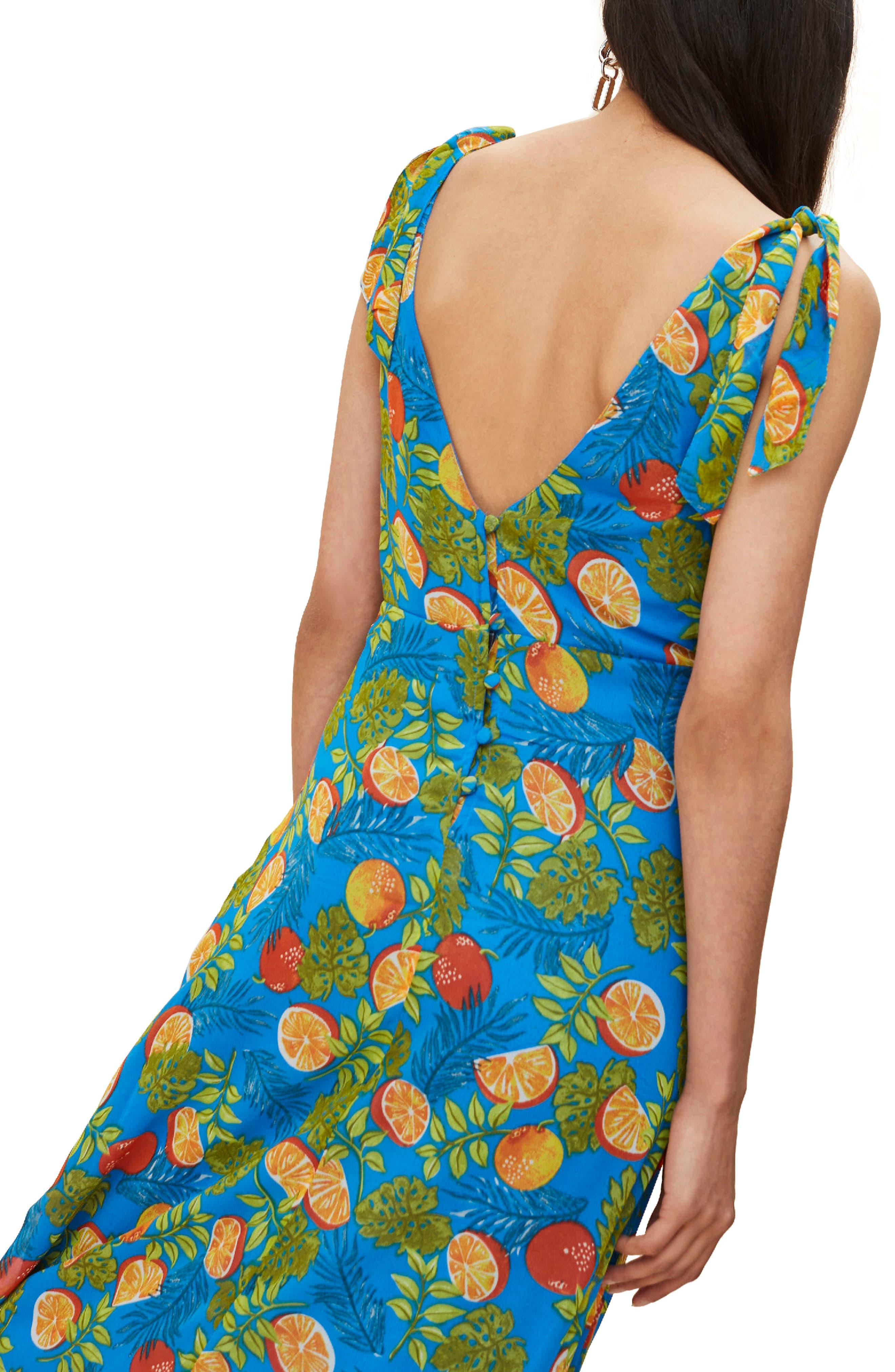 Citrus Tie Shoulder Midi Sundress,                             Alternate thumbnail 2, color,                             Blue