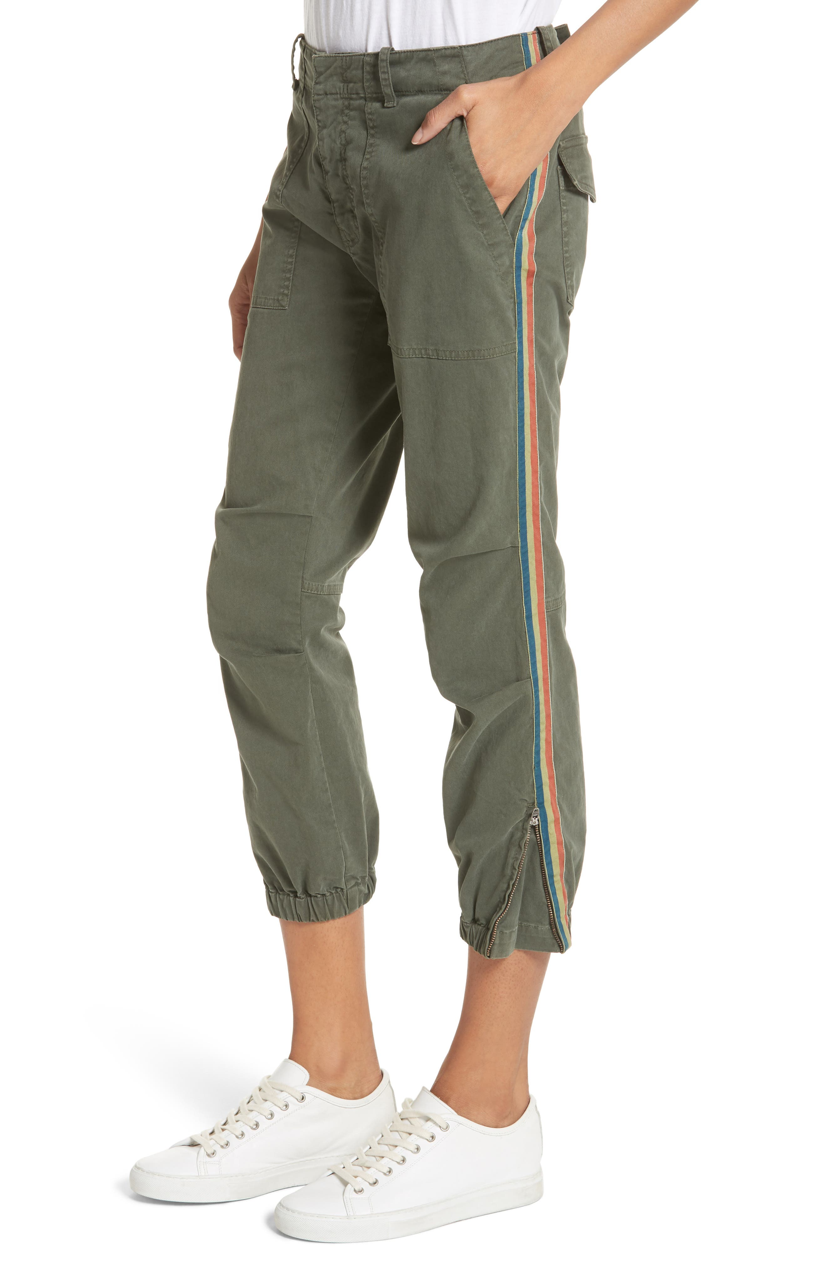 French Crop Military Pants,                             Alternate thumbnail 4, color,                             Loden