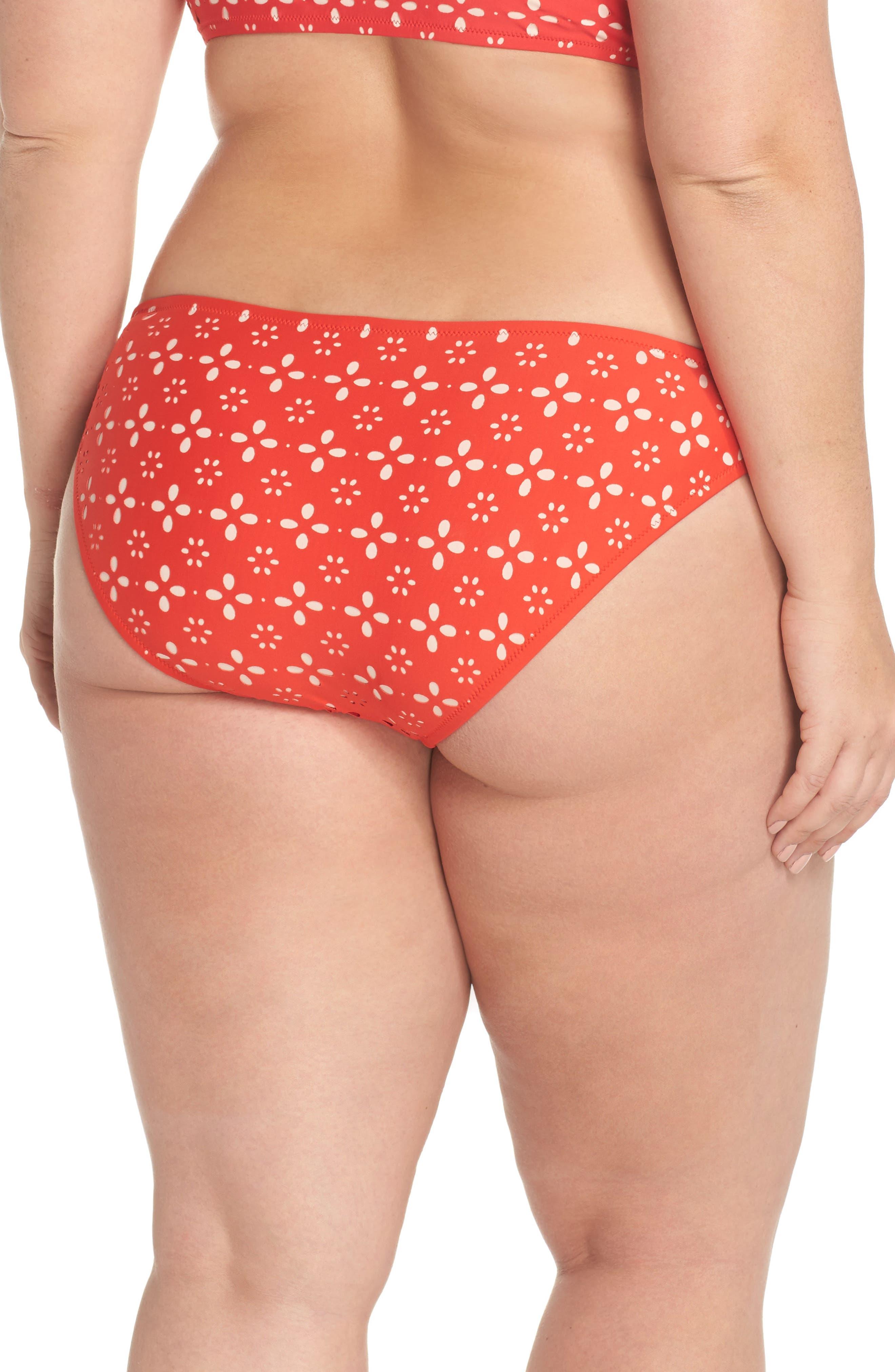 Lasercut Bikini Bottoms,                             Alternate thumbnail 4, color,                             Fiery Sunset Blush