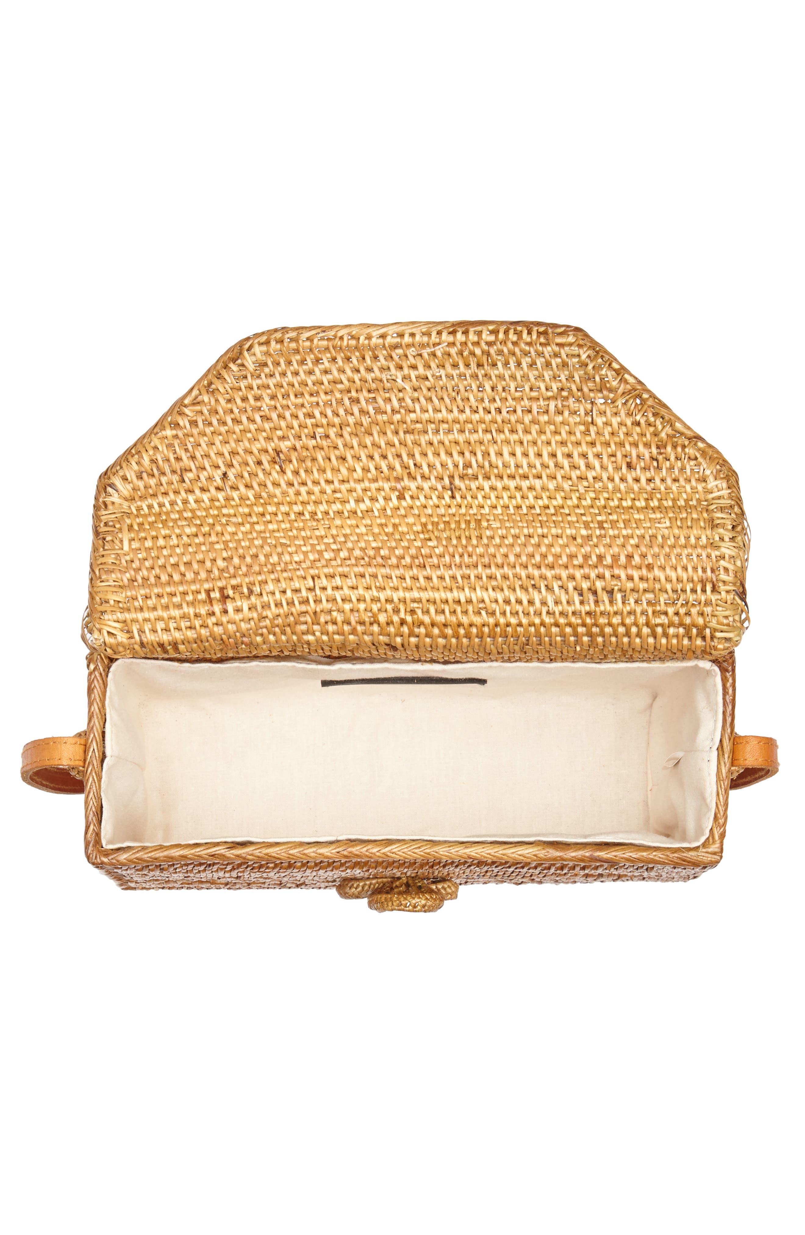 Woven Rattan Box Crossbody Bag,                             Alternate thumbnail 4, color,                             Tan