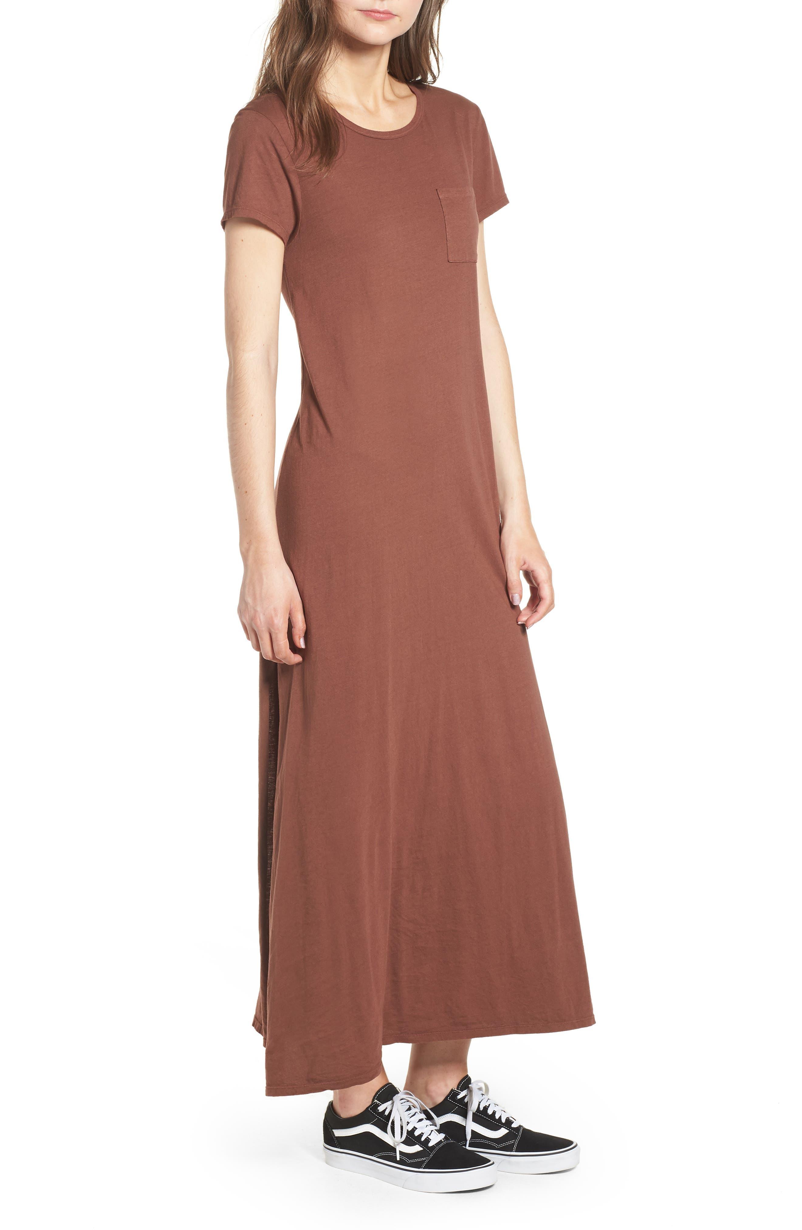 Alana Side Slit T-Shirt Dress,                             Alternate thumbnail 4, color,                             Nutmeg