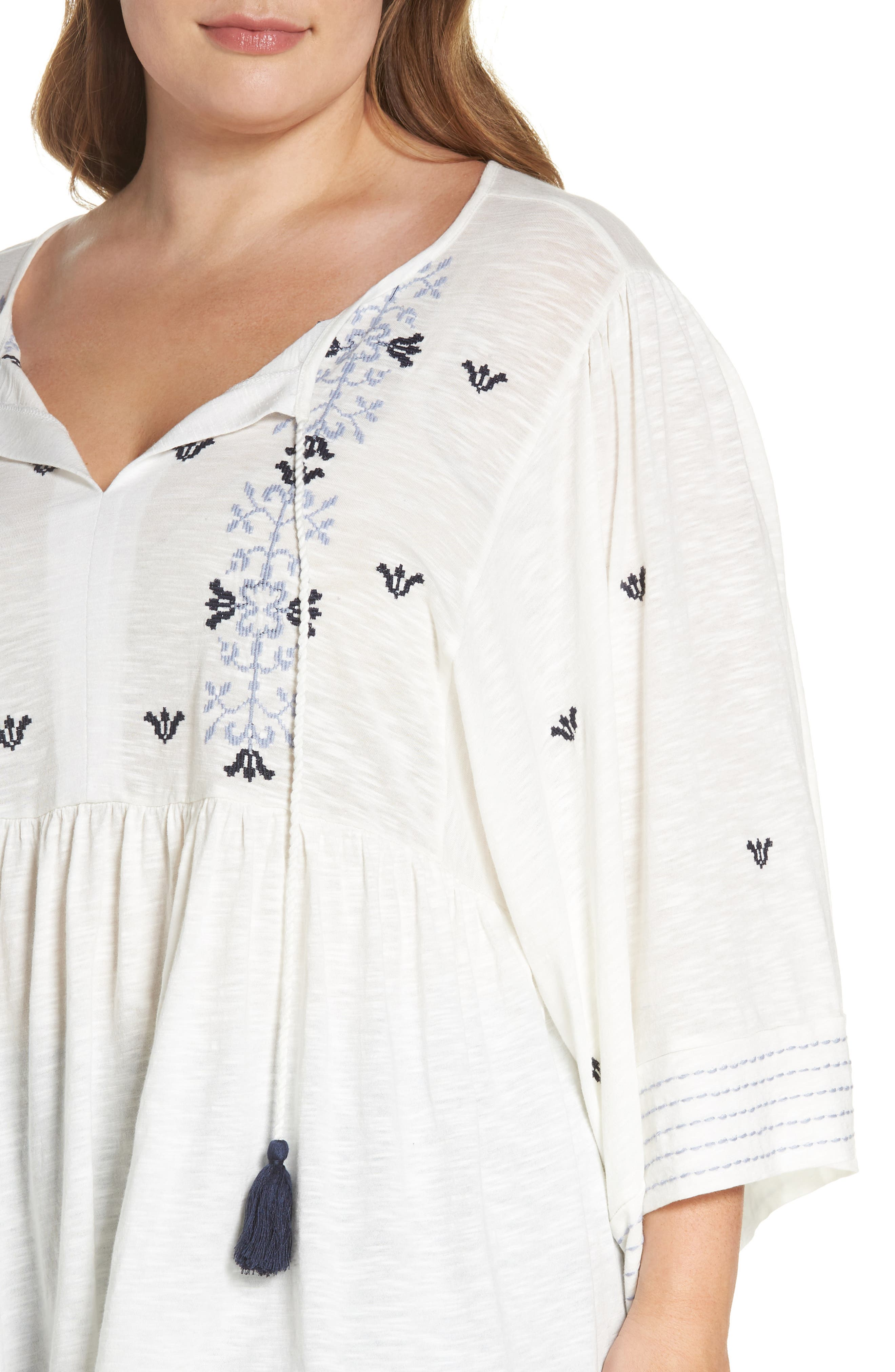 Embroidered Peasant Top,                             Alternate thumbnail 4, color,                             Ivory- Blue Aria