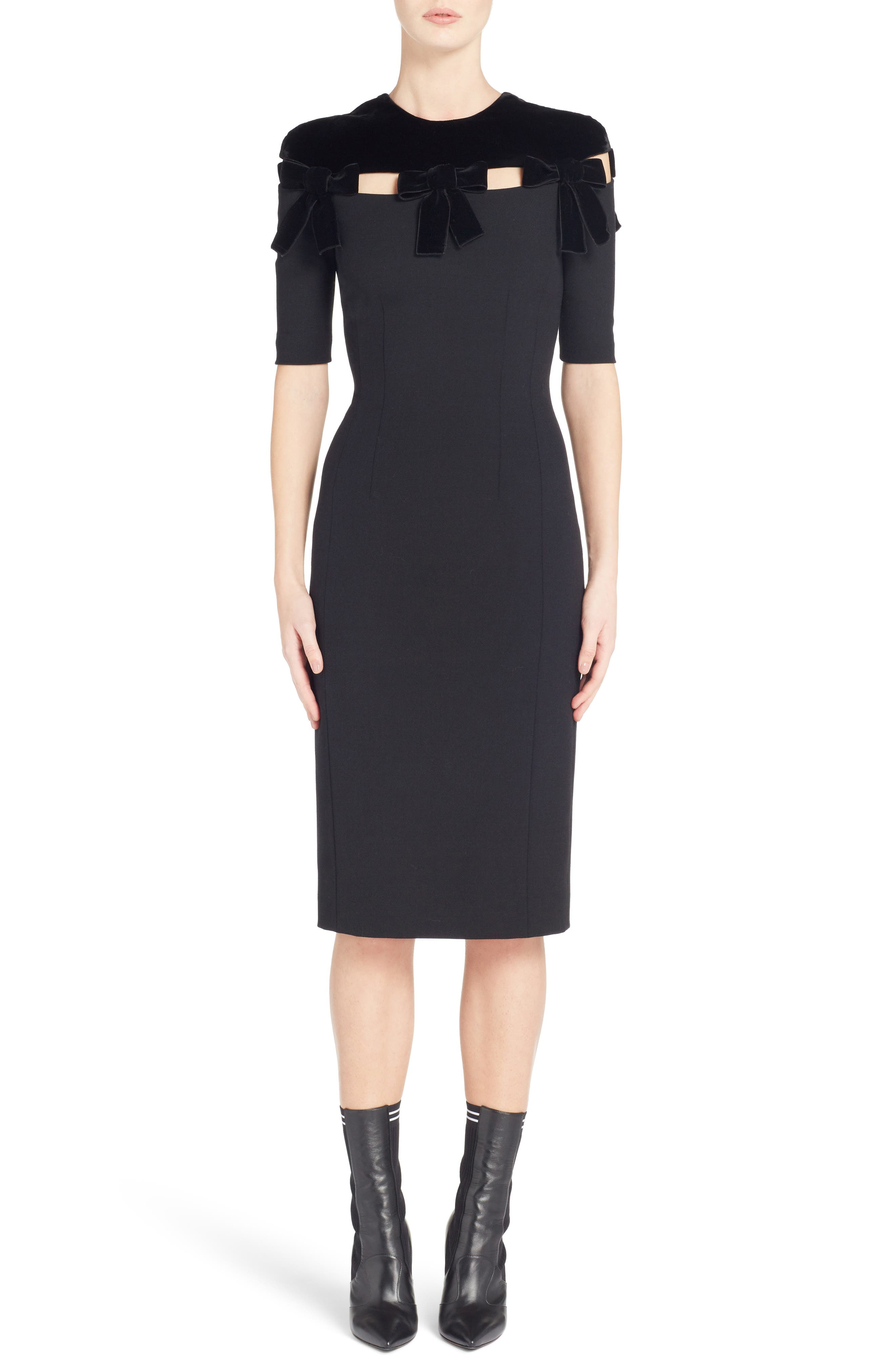 Velvet Bow Detail Stretch Dress,                             Main thumbnail 1, color,                             Black