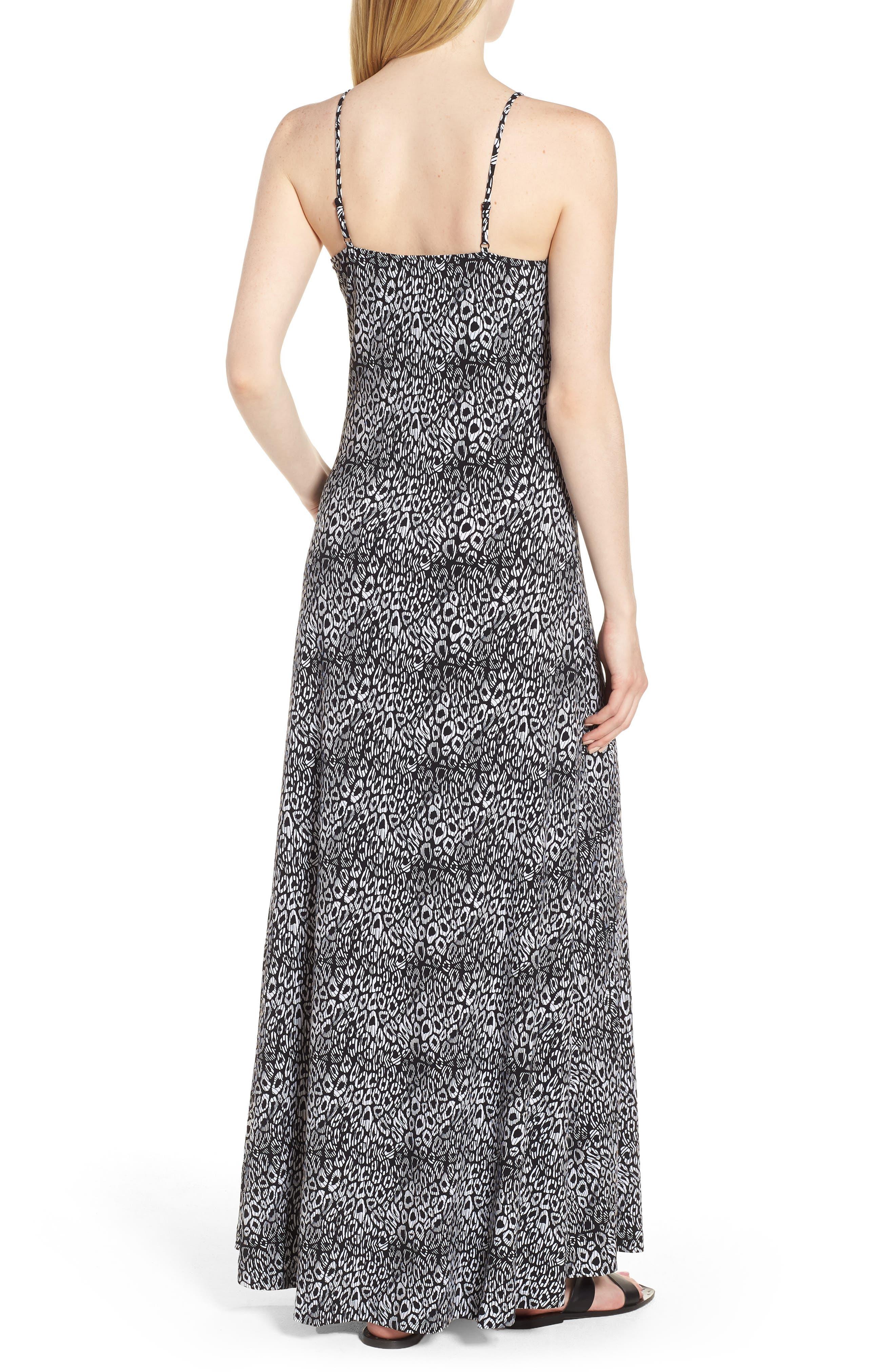 Wavy Leopard Print Tank Maxi Dress,                             Alternate thumbnail 2, color,                             Black/ White