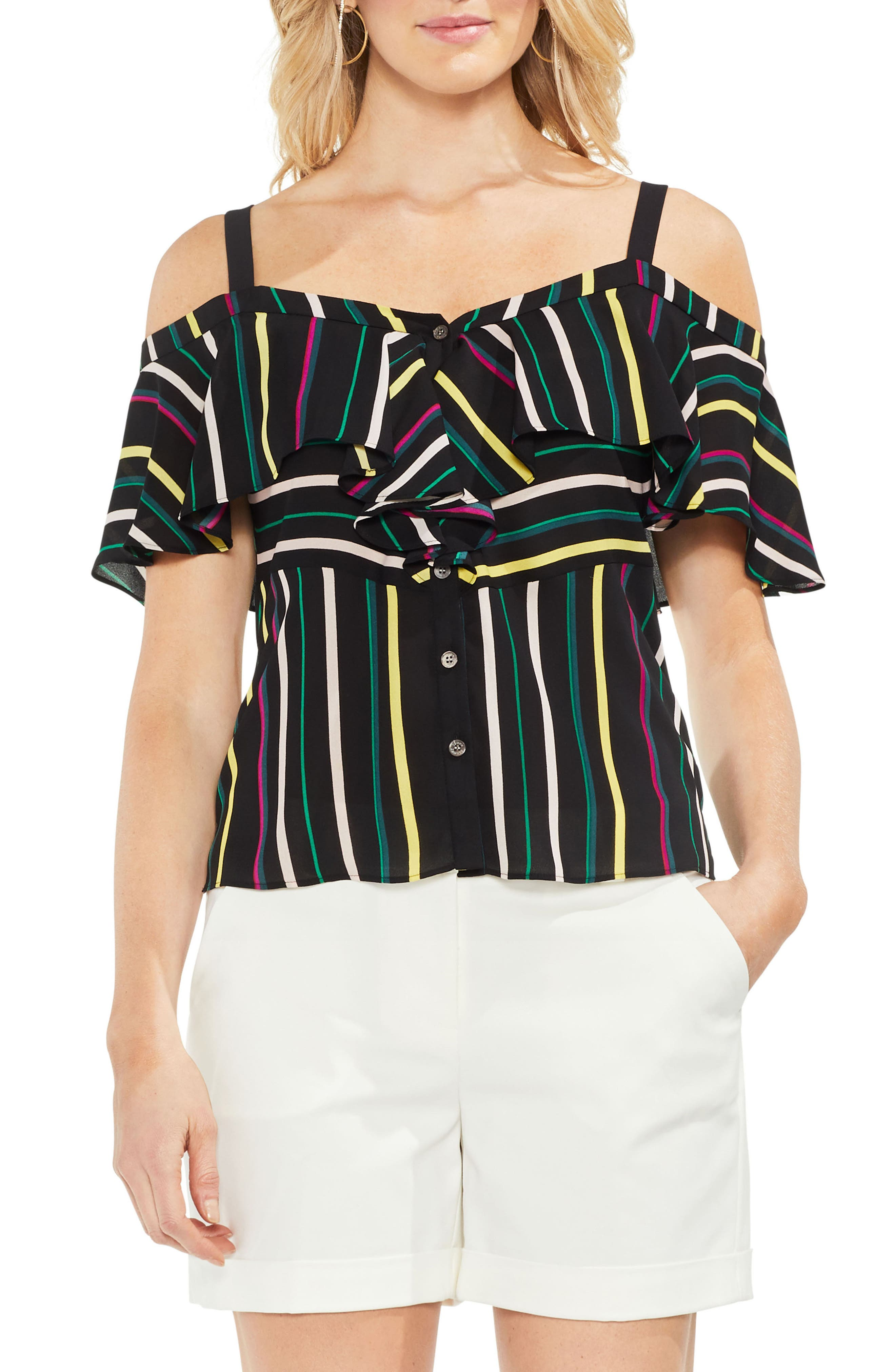 Stripe Cold Shoulder Ruffle Top,                         Main,                         color, Rich Black