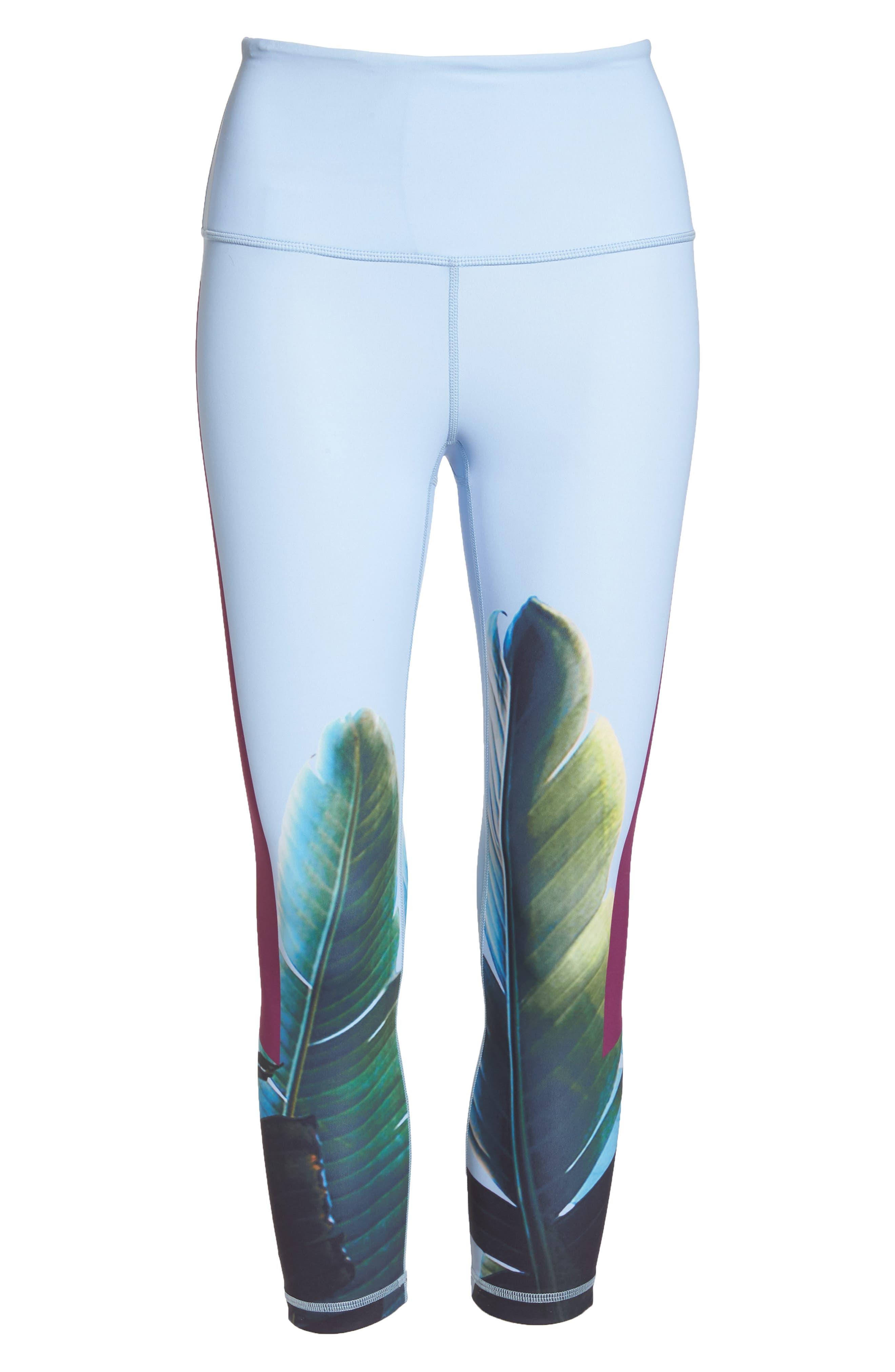 Pure Vision High Waist Crop Leggings,                             Alternate thumbnail 4, color,                             Blue Kentucky Under Palms Prt