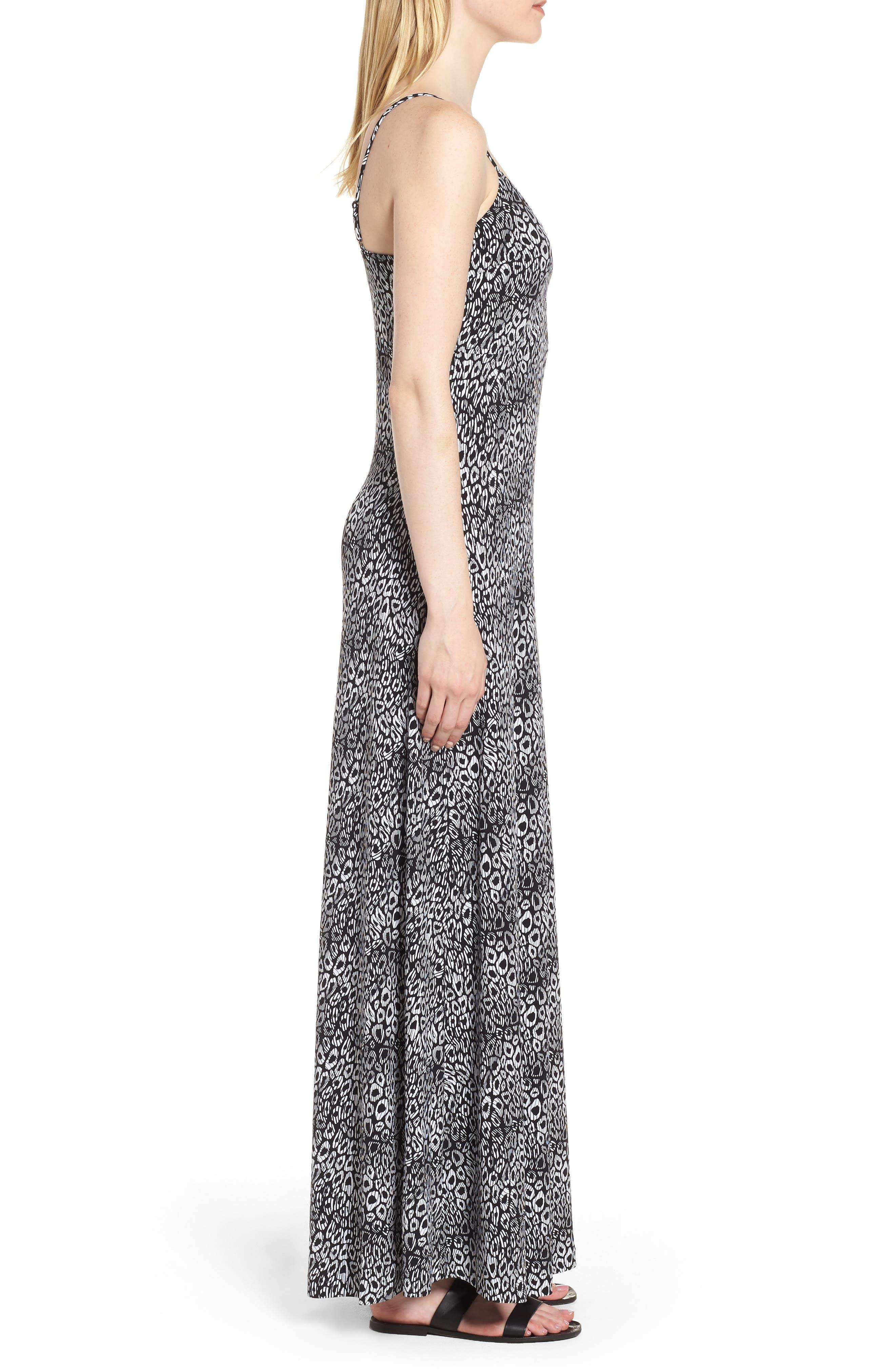 Wavy Leopard Print Tank Maxi Dress,                             Alternate thumbnail 3, color,                             Black/ White