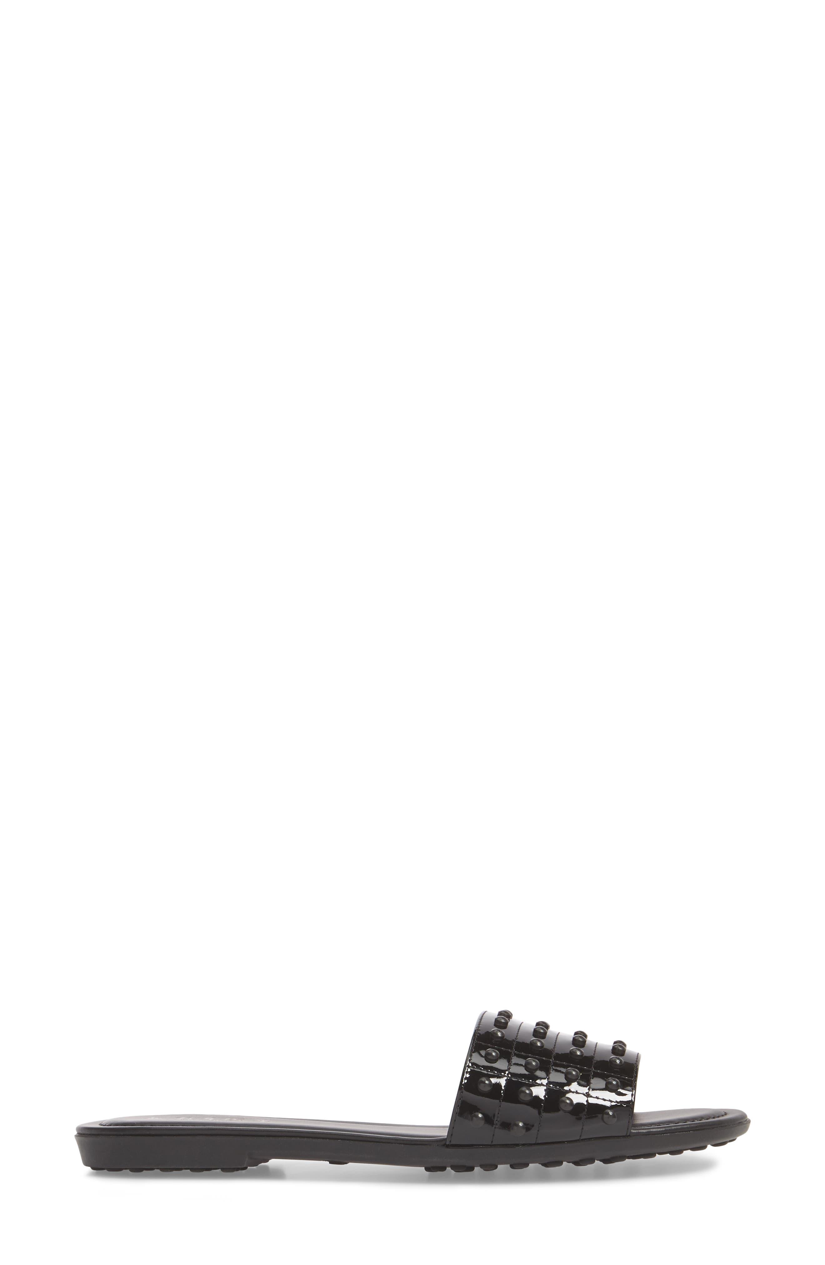 Gommini Slide Sandal,                             Alternate thumbnail 3, color,                             Black