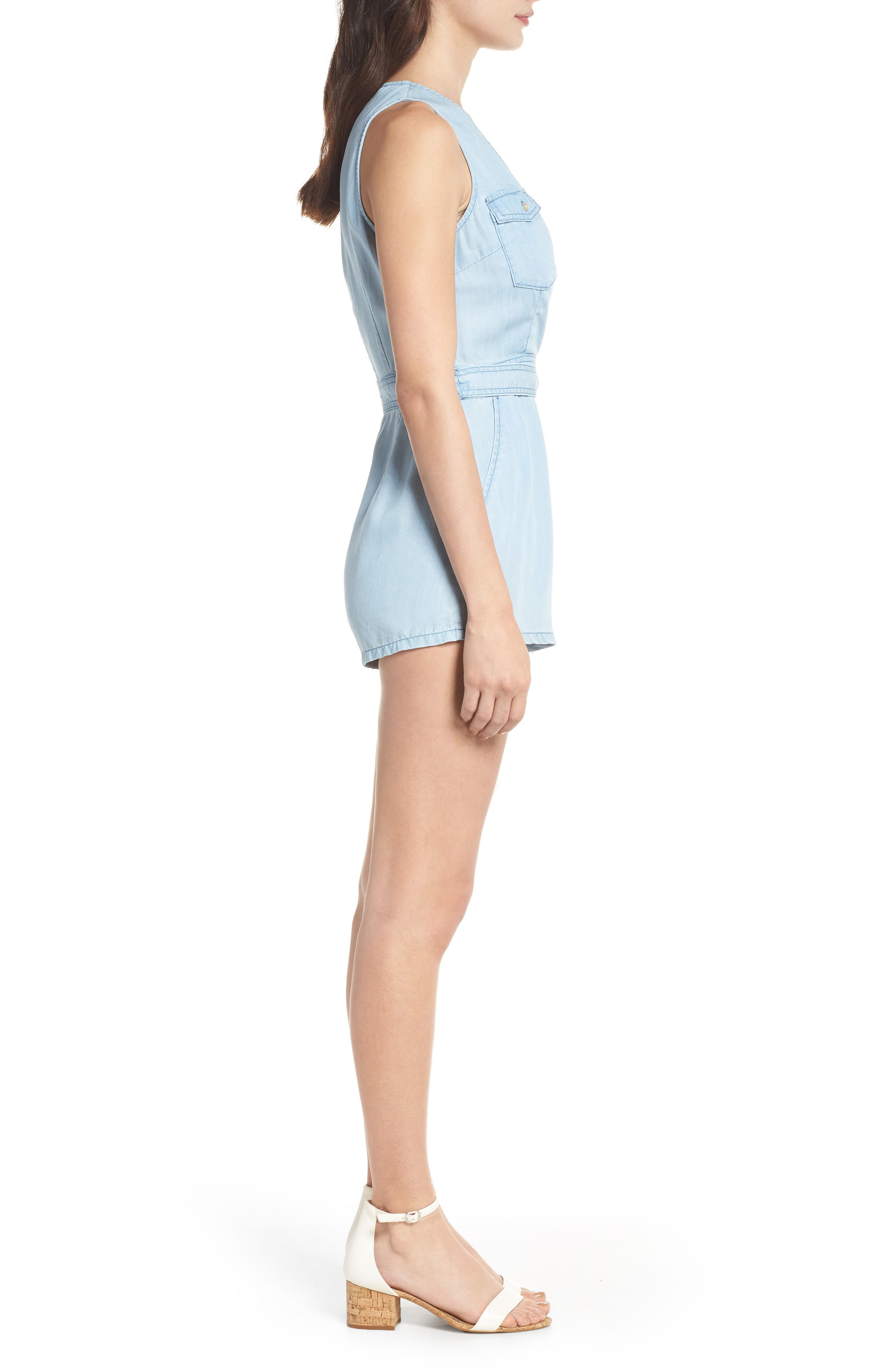 Chambray Romper,                             Alternate thumbnail 3, color,                             Chambray