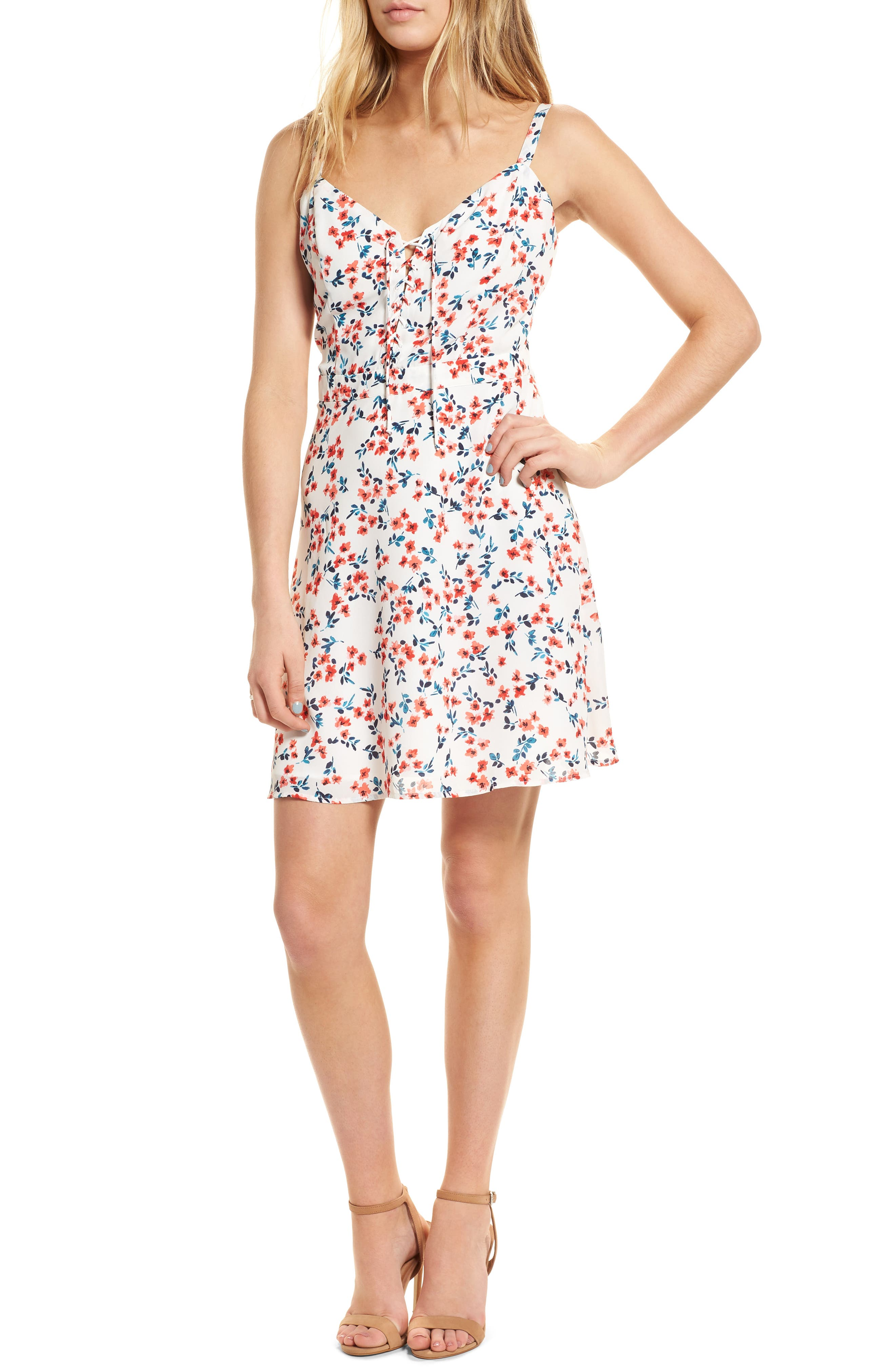 cupcakes and cashmere Dennis Floral Lace-Up Dress