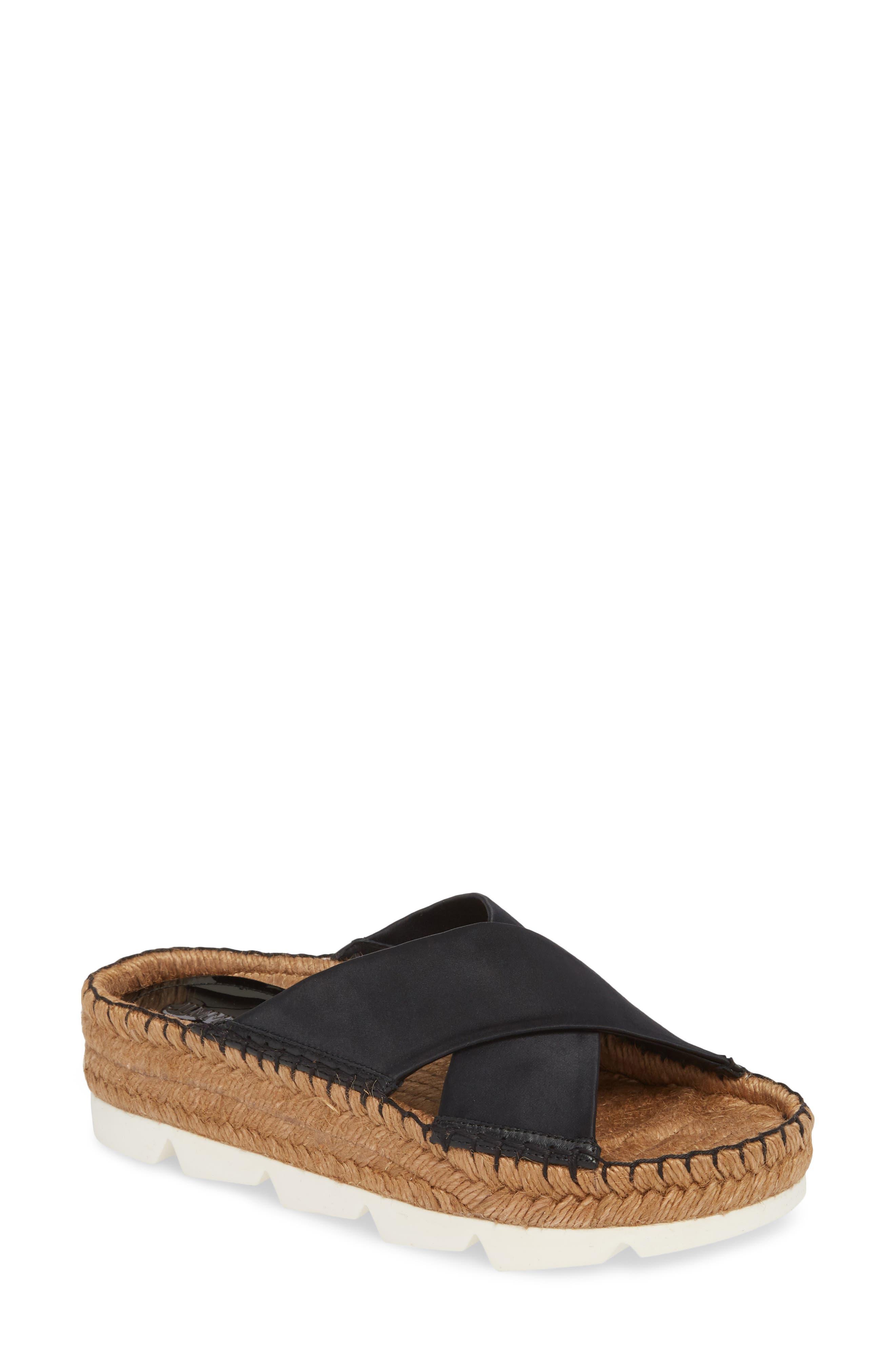 Danae Double Strap Espadrille Slide Sandal,                         Main,                         color, Black