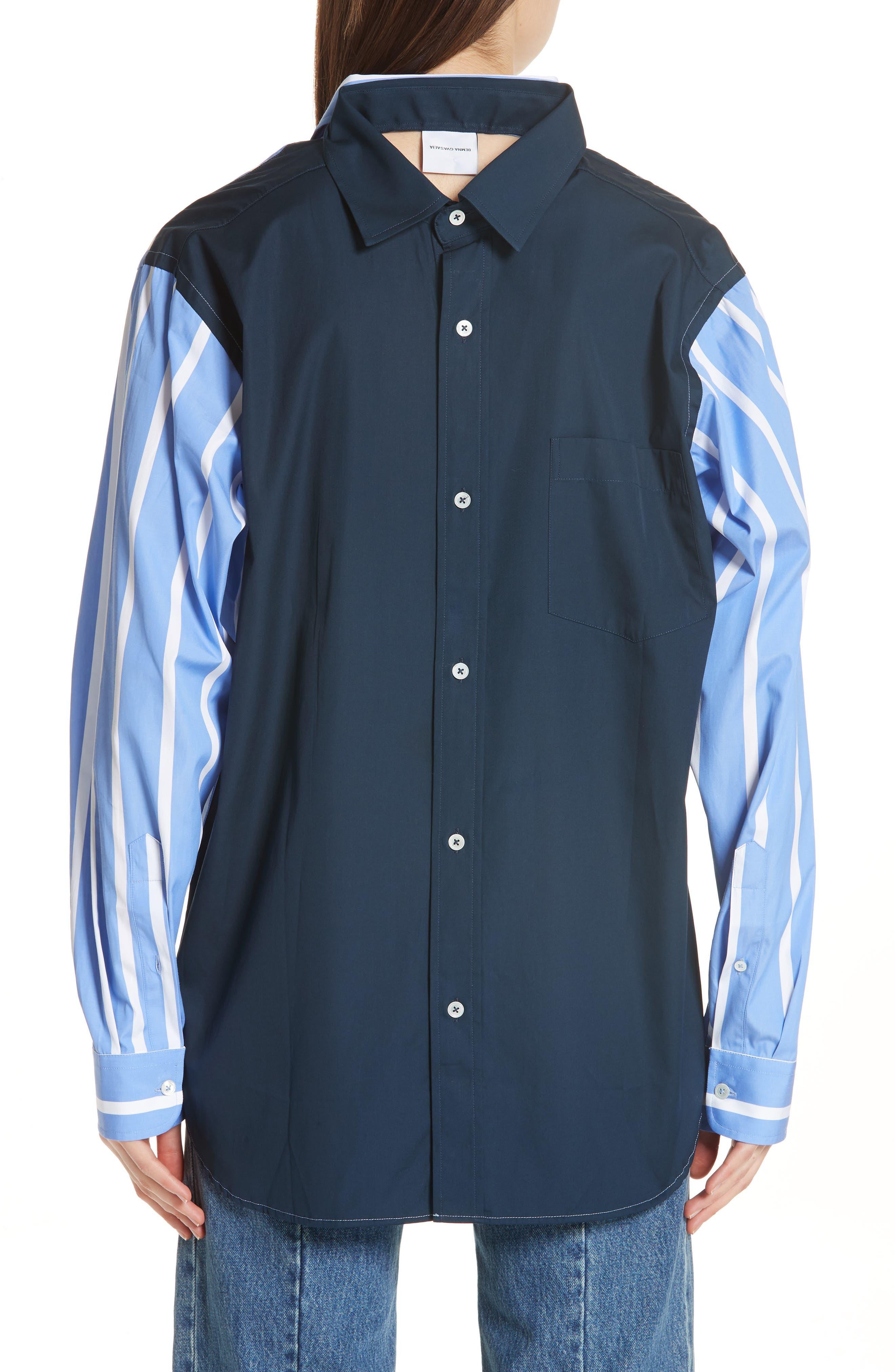 Front to Back Cotton Shirt,                             Alternate thumbnail 3, color,                             Blue Stripe