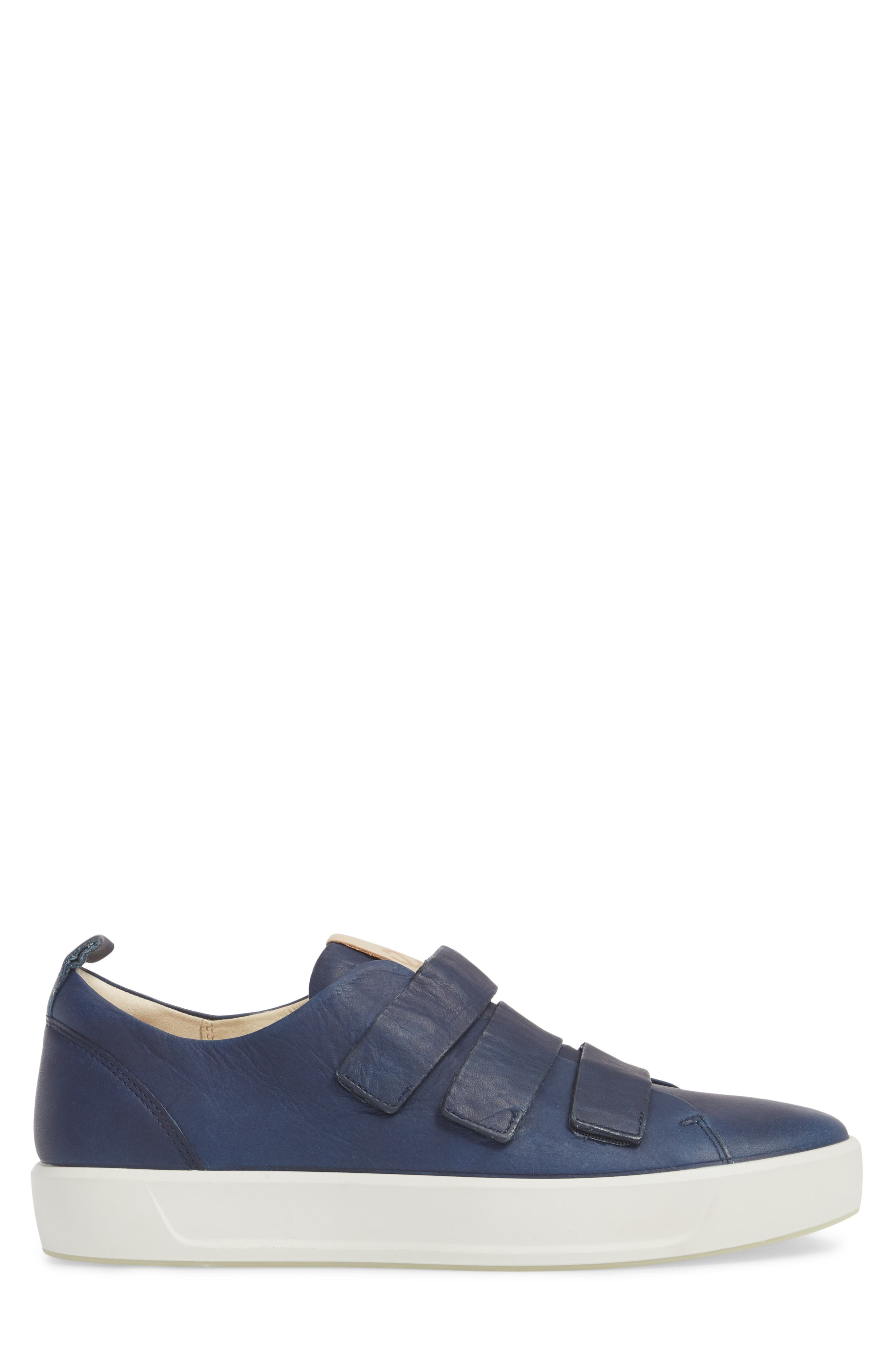 Soft 8 Strap Sneaker,                             Alternate thumbnail 3, color,                             Indigo 7 Leather