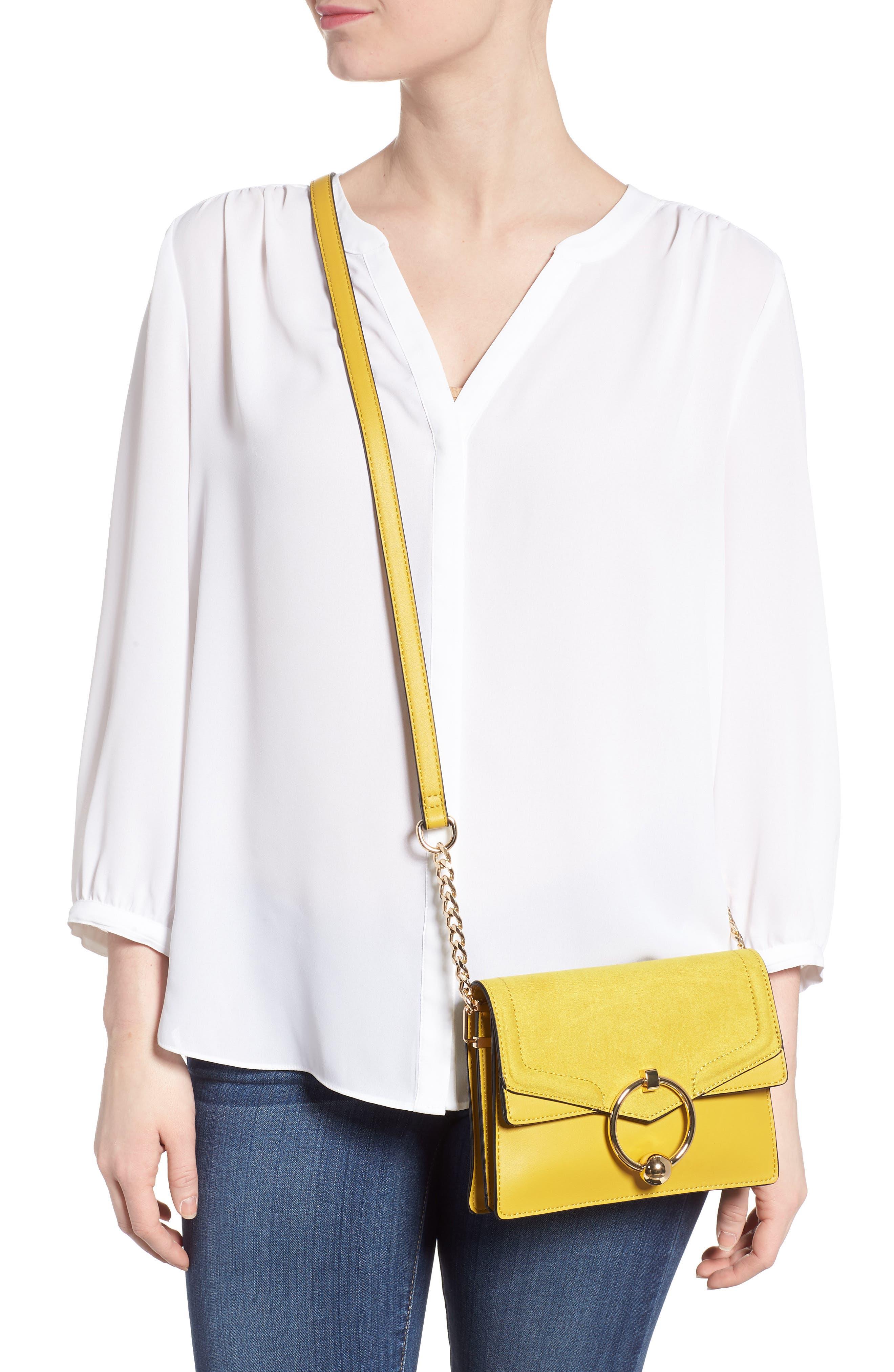 Seline Faux Leather Crossbody Bag,                             Alternate thumbnail 2, color,                             Yellow Multi
