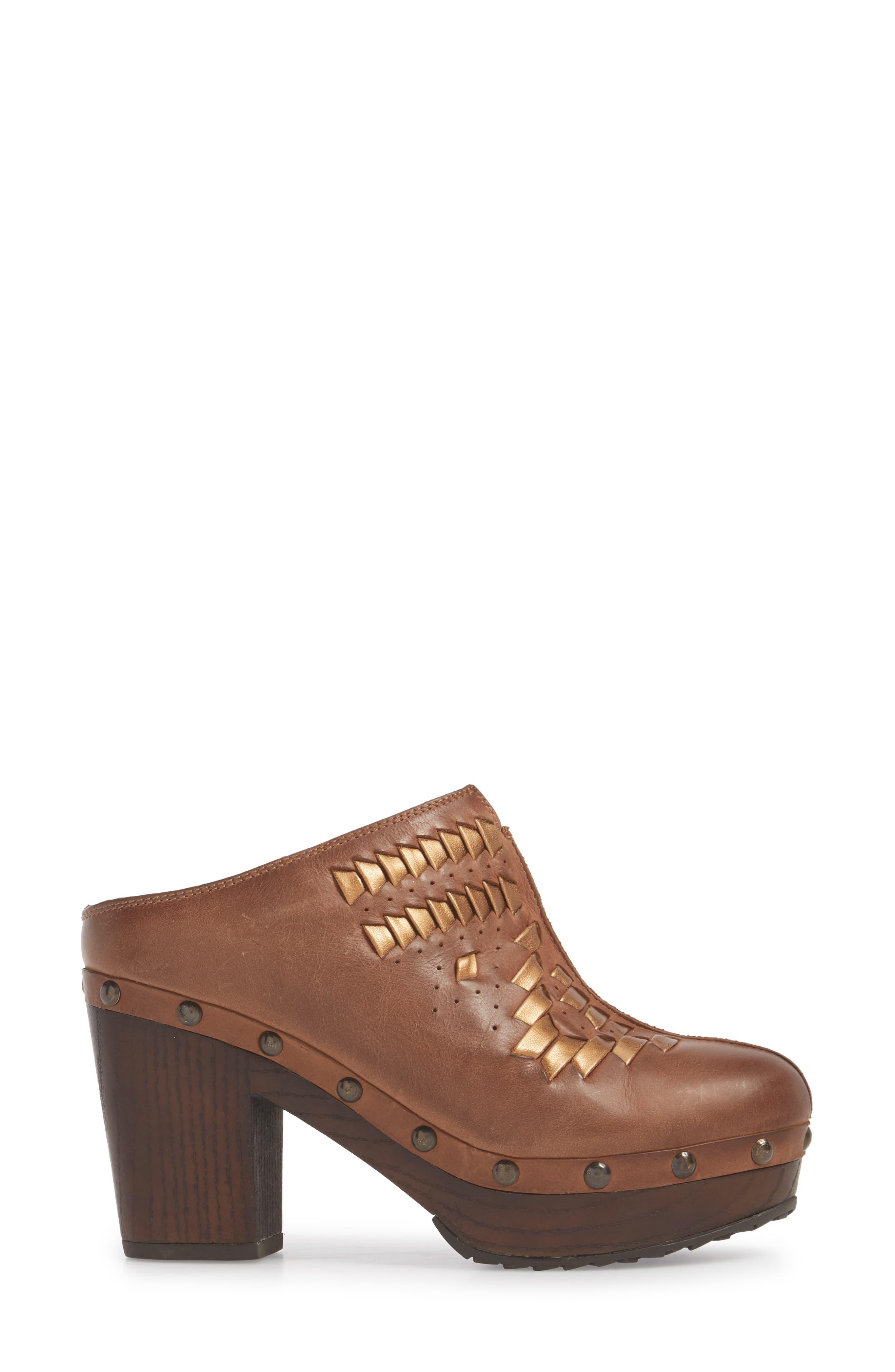 Bria Platform Clog,                             Alternate thumbnail 3, color,                             Bronzed Brown Leather