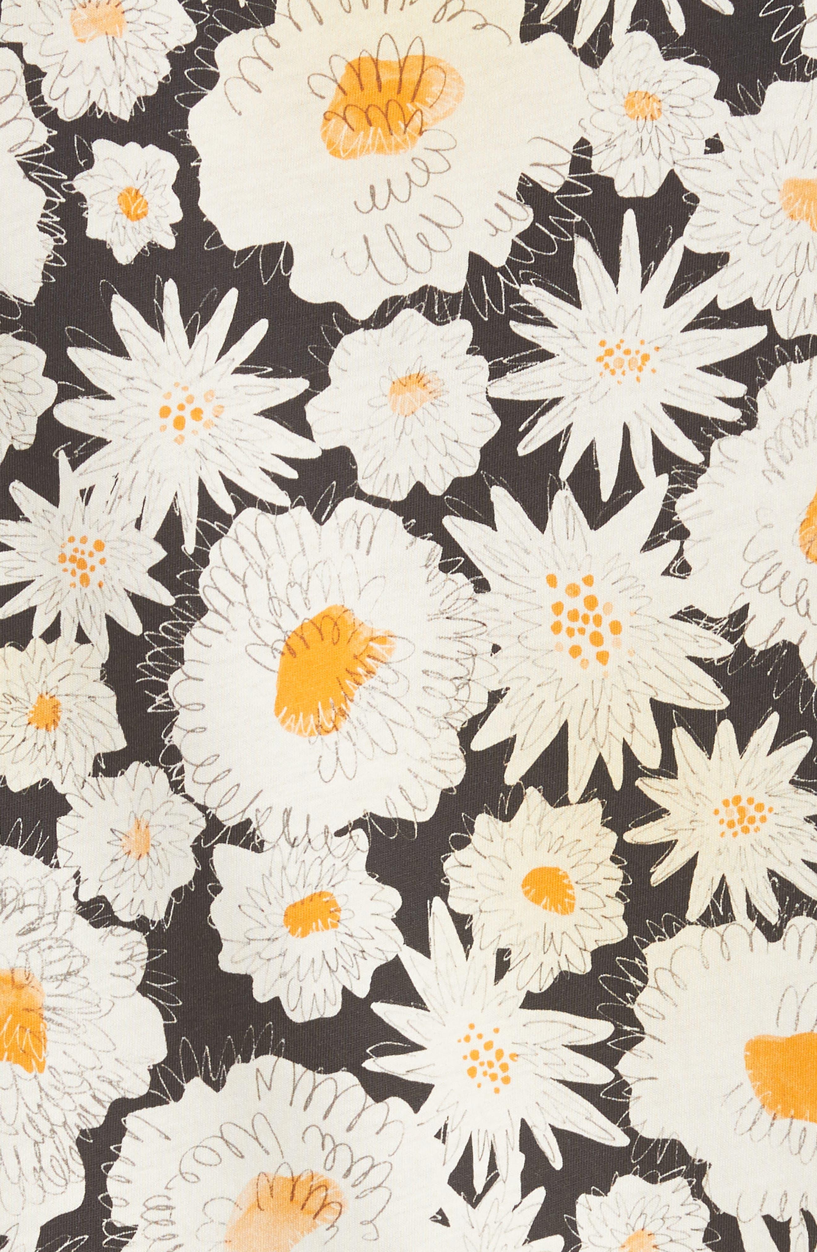 Adderton Flower Print T-Shirt,                             Alternate thumbnail 5, color,                             Black