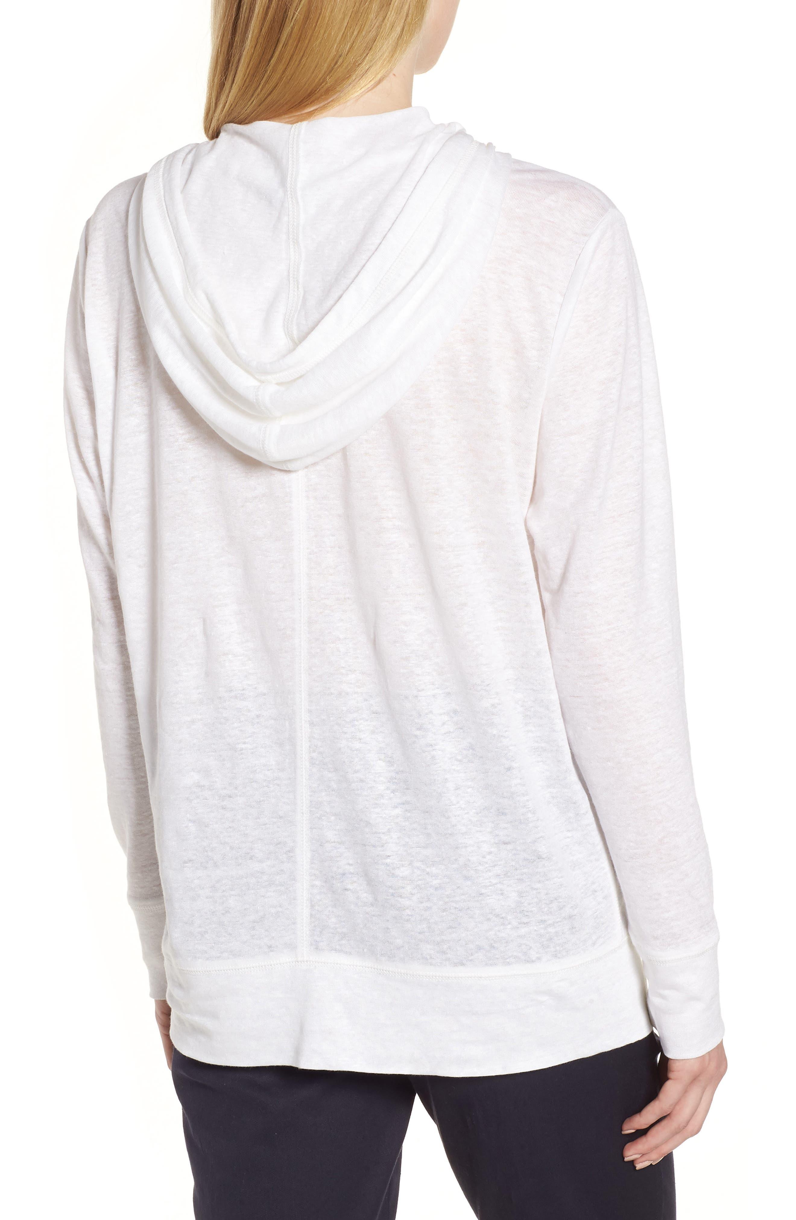Knit Linen Hoodie,                             Alternate thumbnail 2, color,                             White
