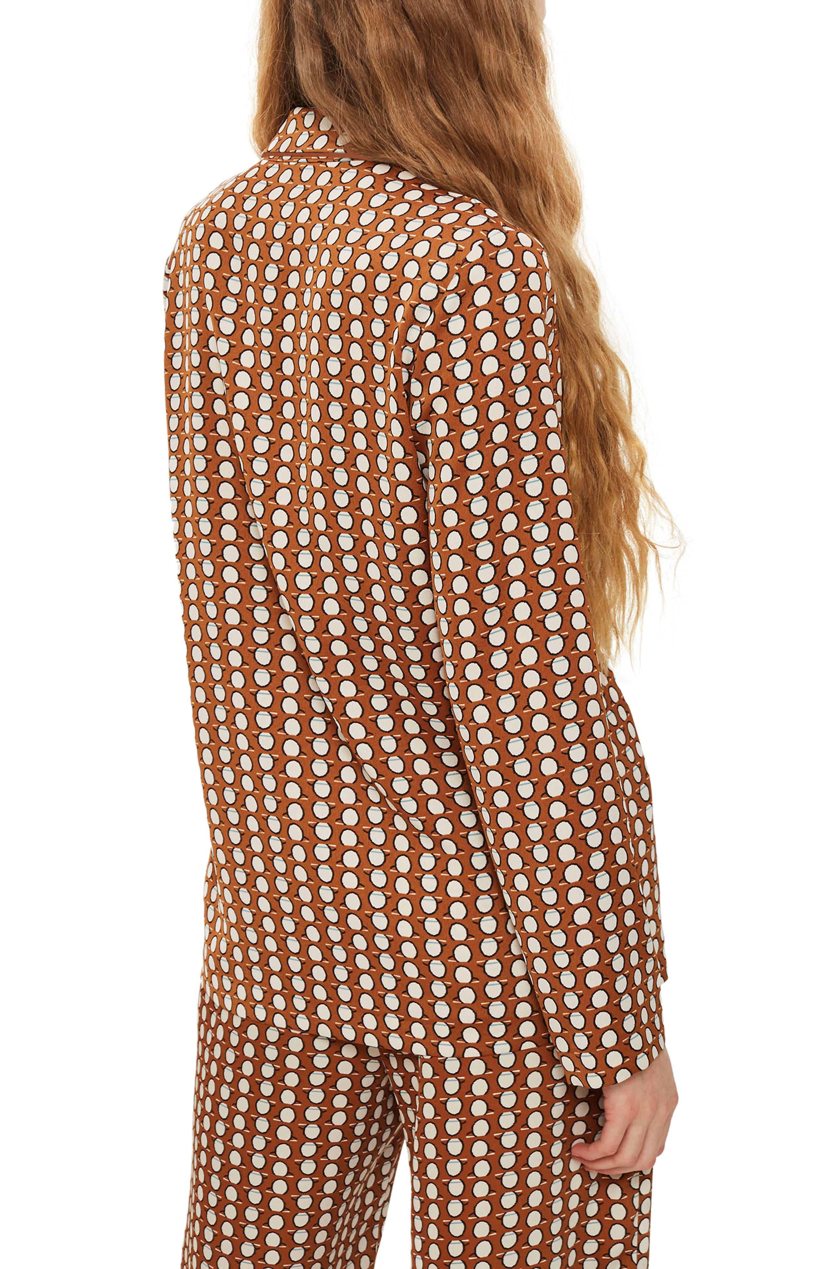Geo Print Pajama Jacket,                             Alternate thumbnail 2, color,                             Brown Multi