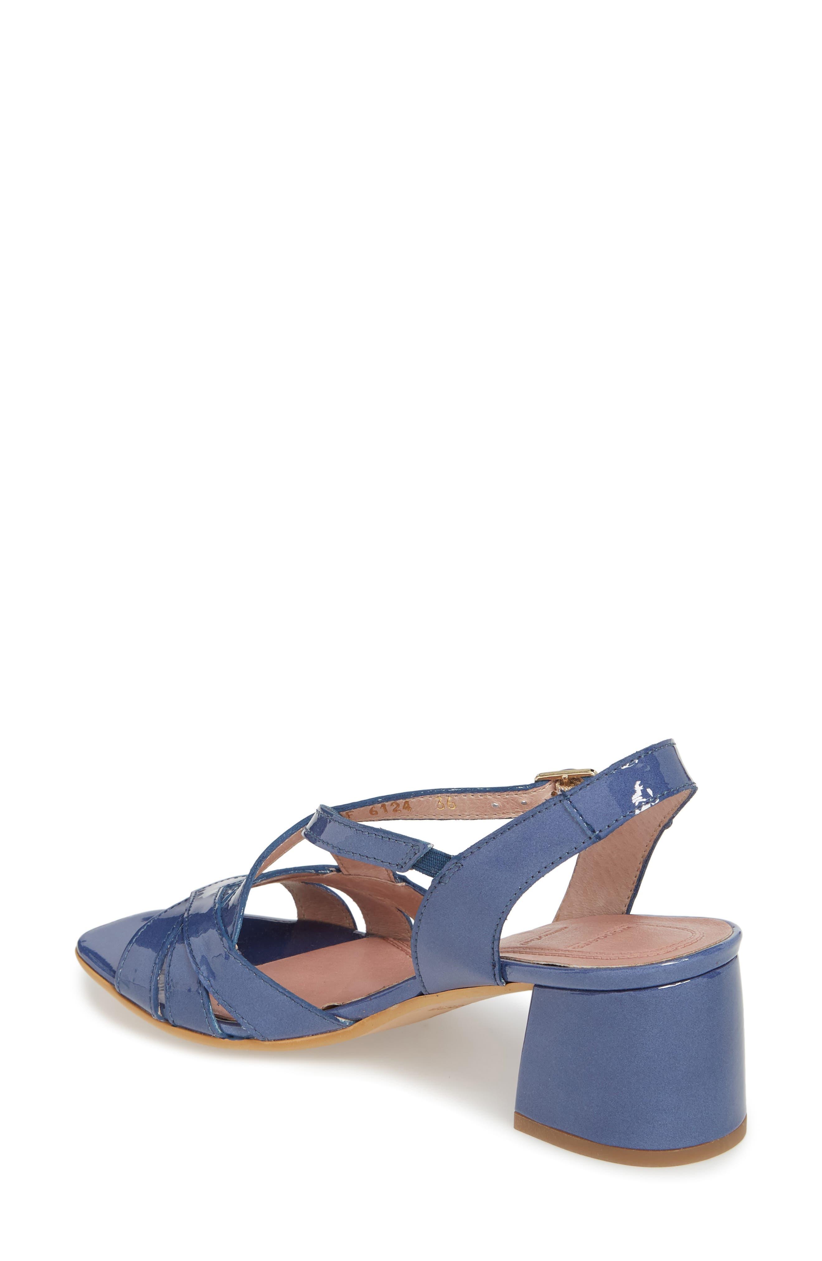 Block Heel Sandal,                             Alternate thumbnail 2, color,                             Jean Patent Leather