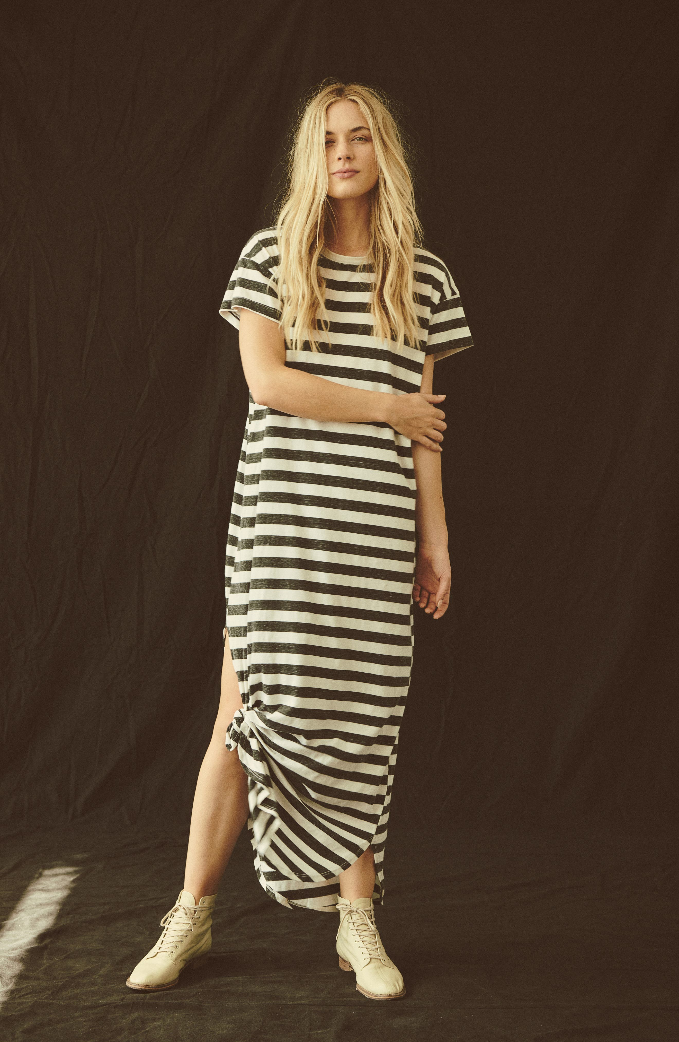 The Knotted Tee Dress,                             Alternate thumbnail 2, color,                             Charcoal Stripe