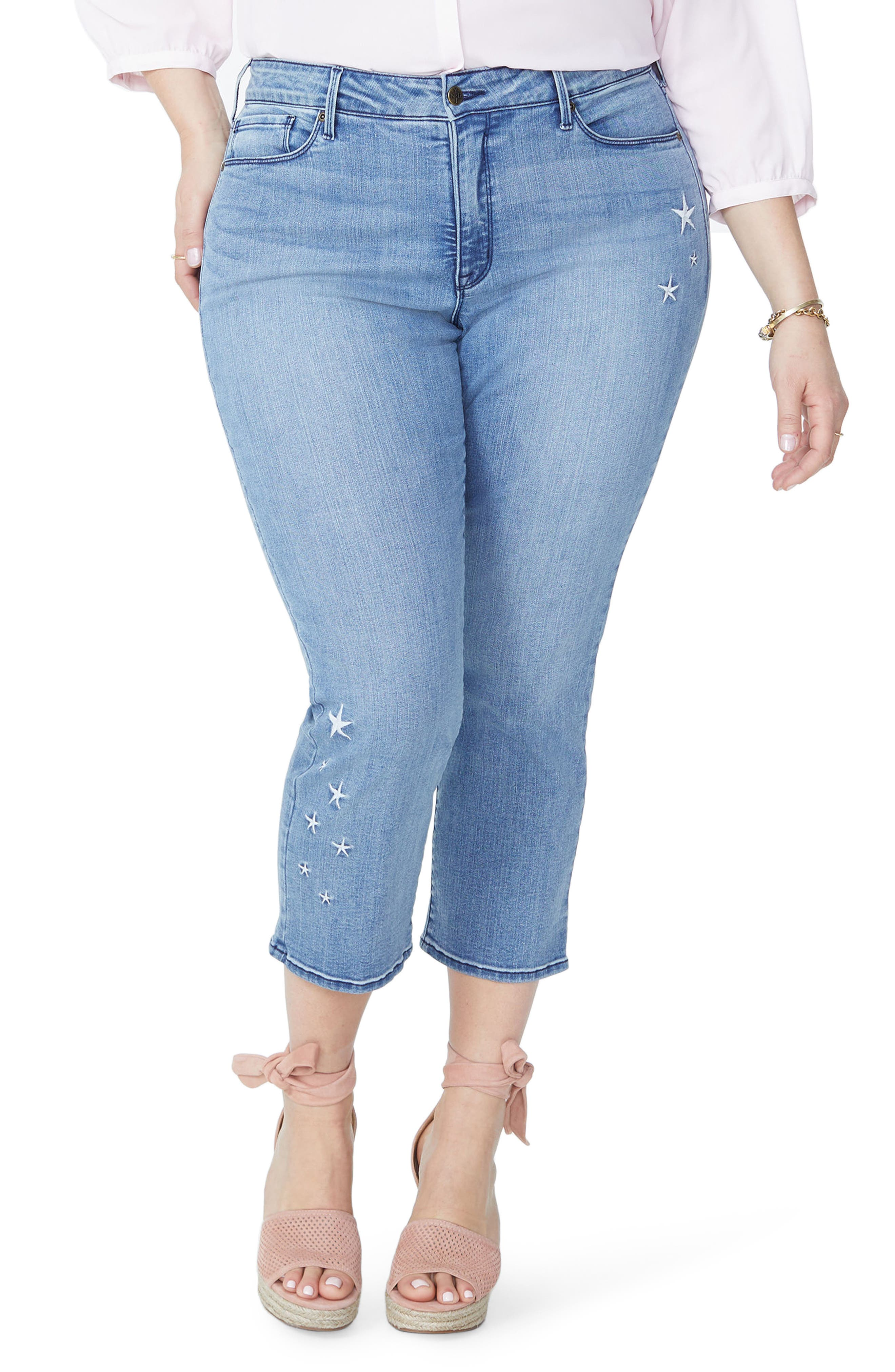 Marilyn Seastar Embroidered Ankle Skinny Jeans,                             Main thumbnail 1, color,                             Point Dume