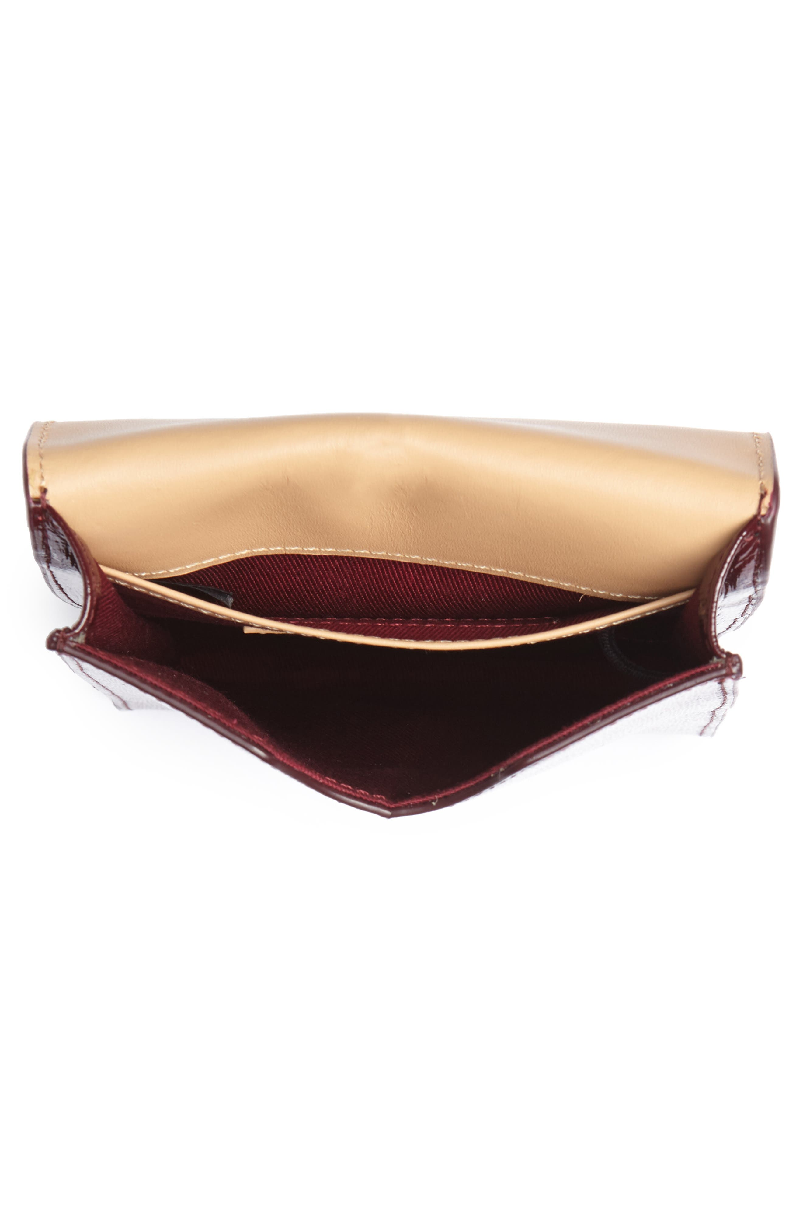 Leather Phone Crossbody Bag,                             Alternate thumbnail 4, color,                             Burgundy Royale