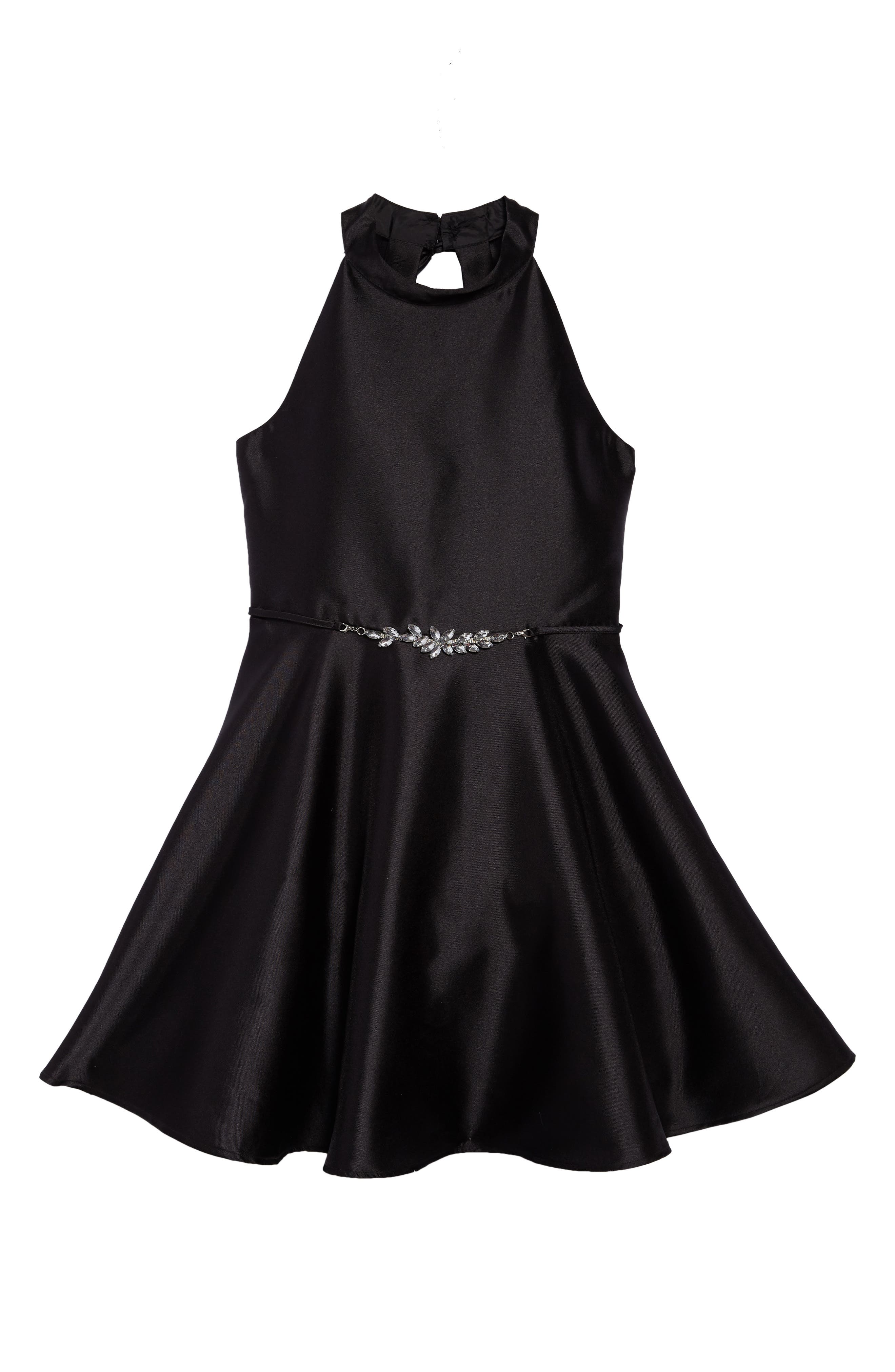 Bow Back Party Dress,                         Main,                         color, Black