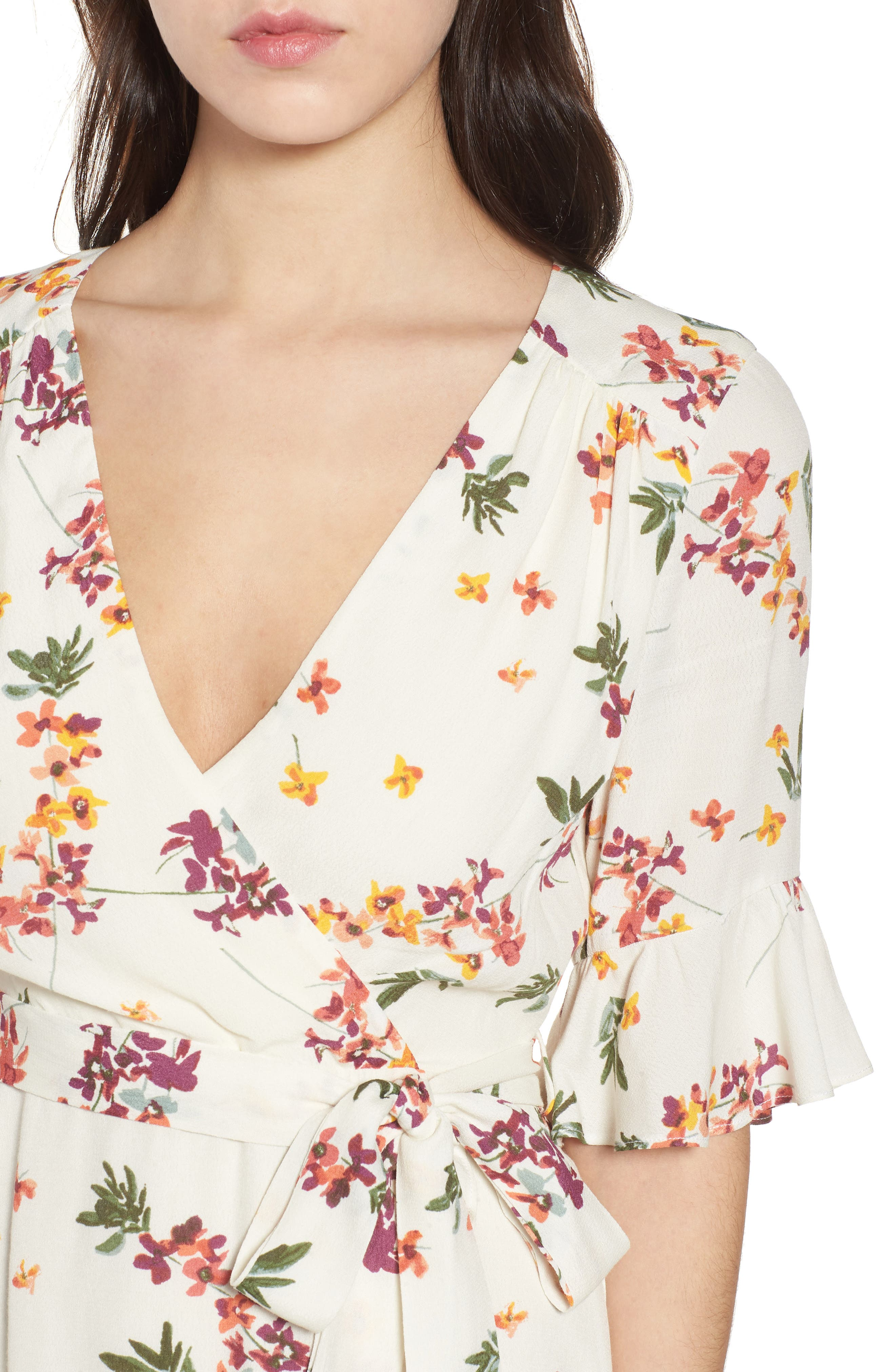 Regina Floral Wrap Minidress,                             Alternate thumbnail 6, color,                             Creme Multi