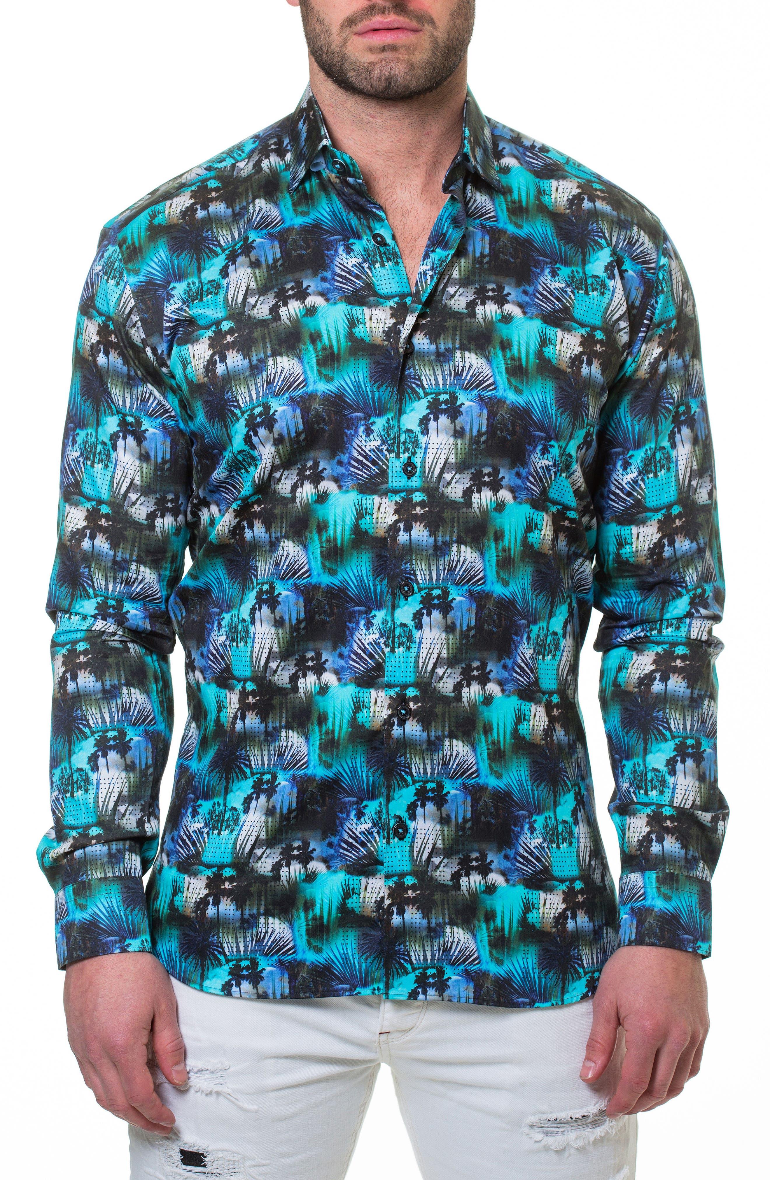 Luxor Miami Slim Fit Sport Shirt,                             Alternate thumbnail 3, color,                             Blue