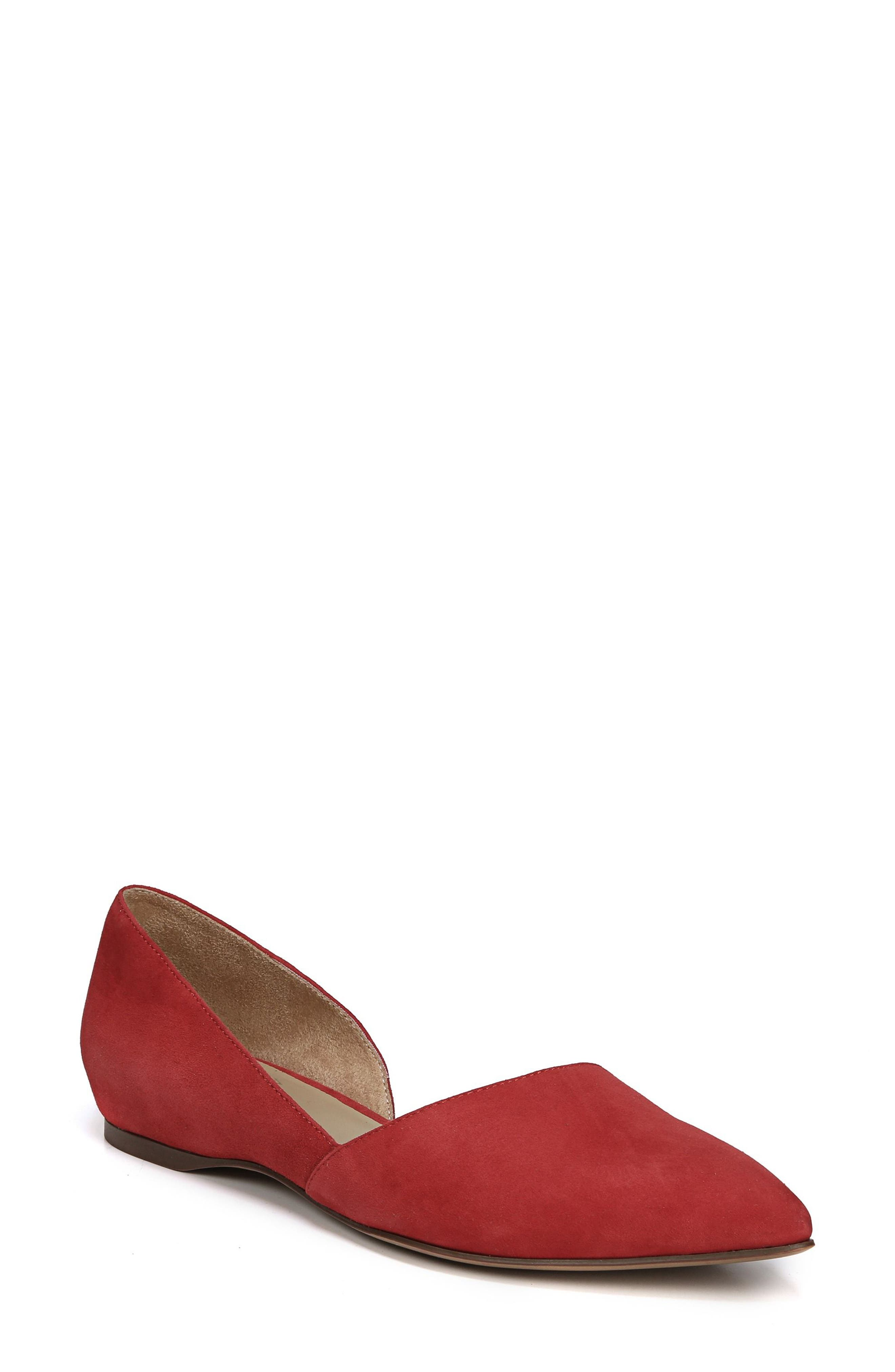 Samantha Half d'Orsay Flat,                         Main,                         color, Hot Sauce Suede