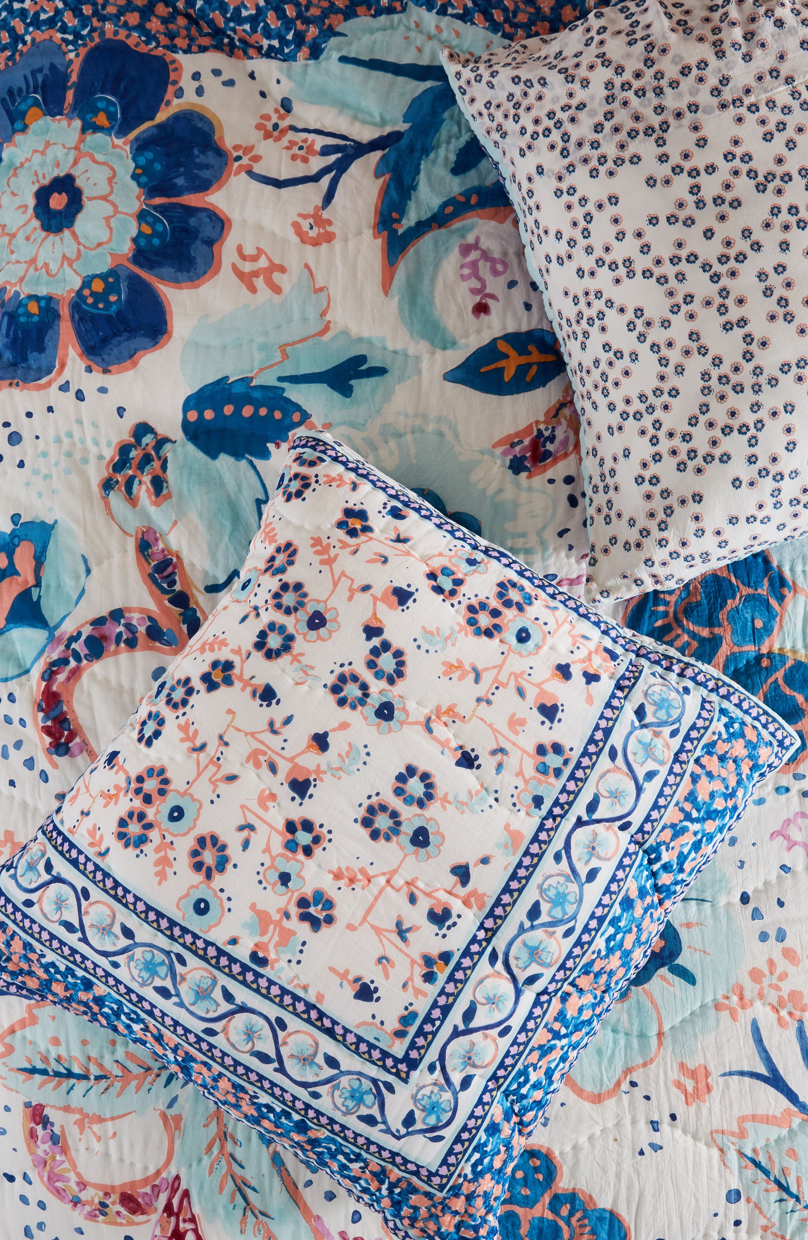 Santorini Euro Sham,                             Main thumbnail 1, color,                             Blue Combo