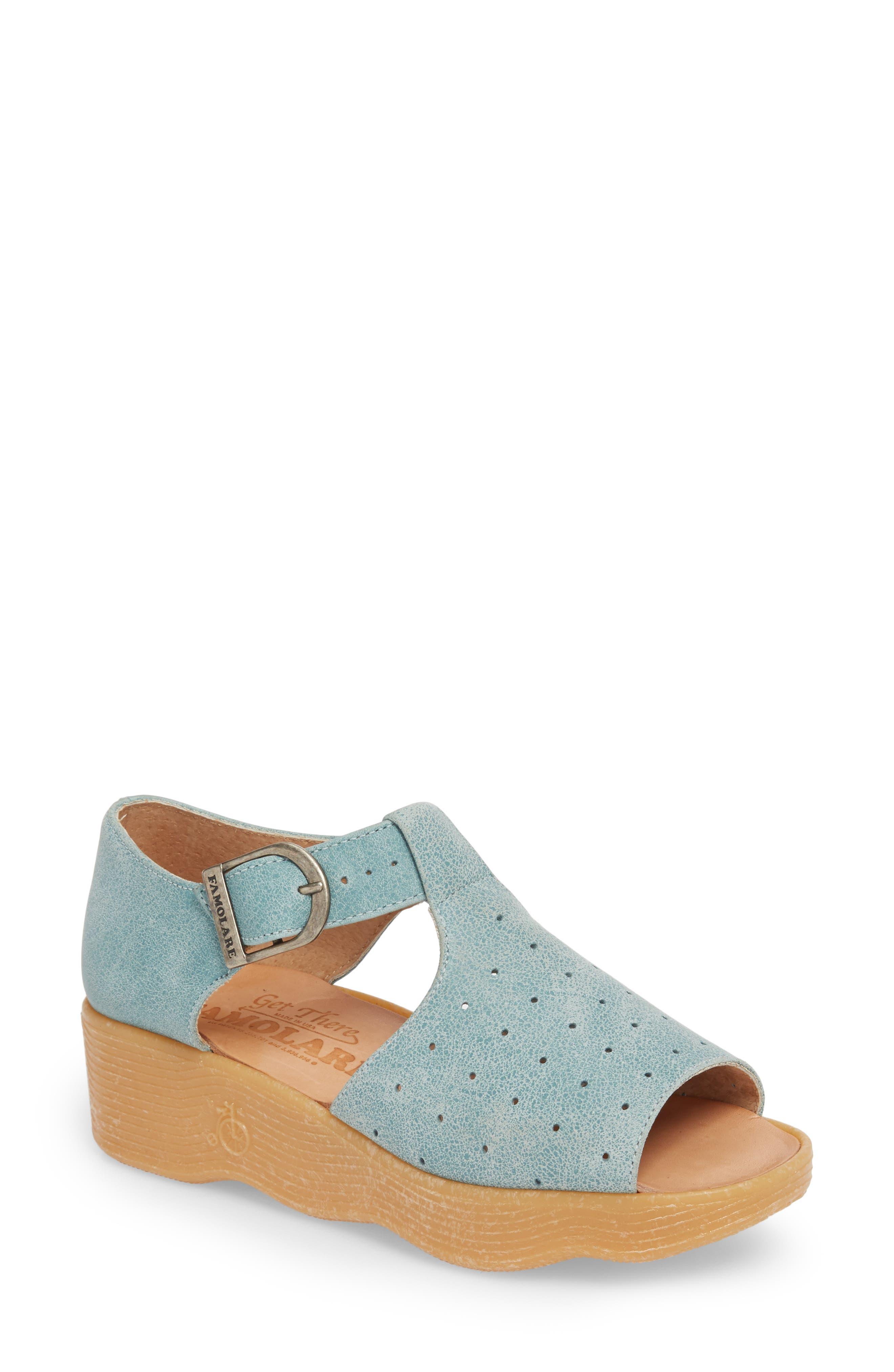 Holey Moley Wedge Sandal,                             Main thumbnail 1, color,                             Aqua Mix Leather