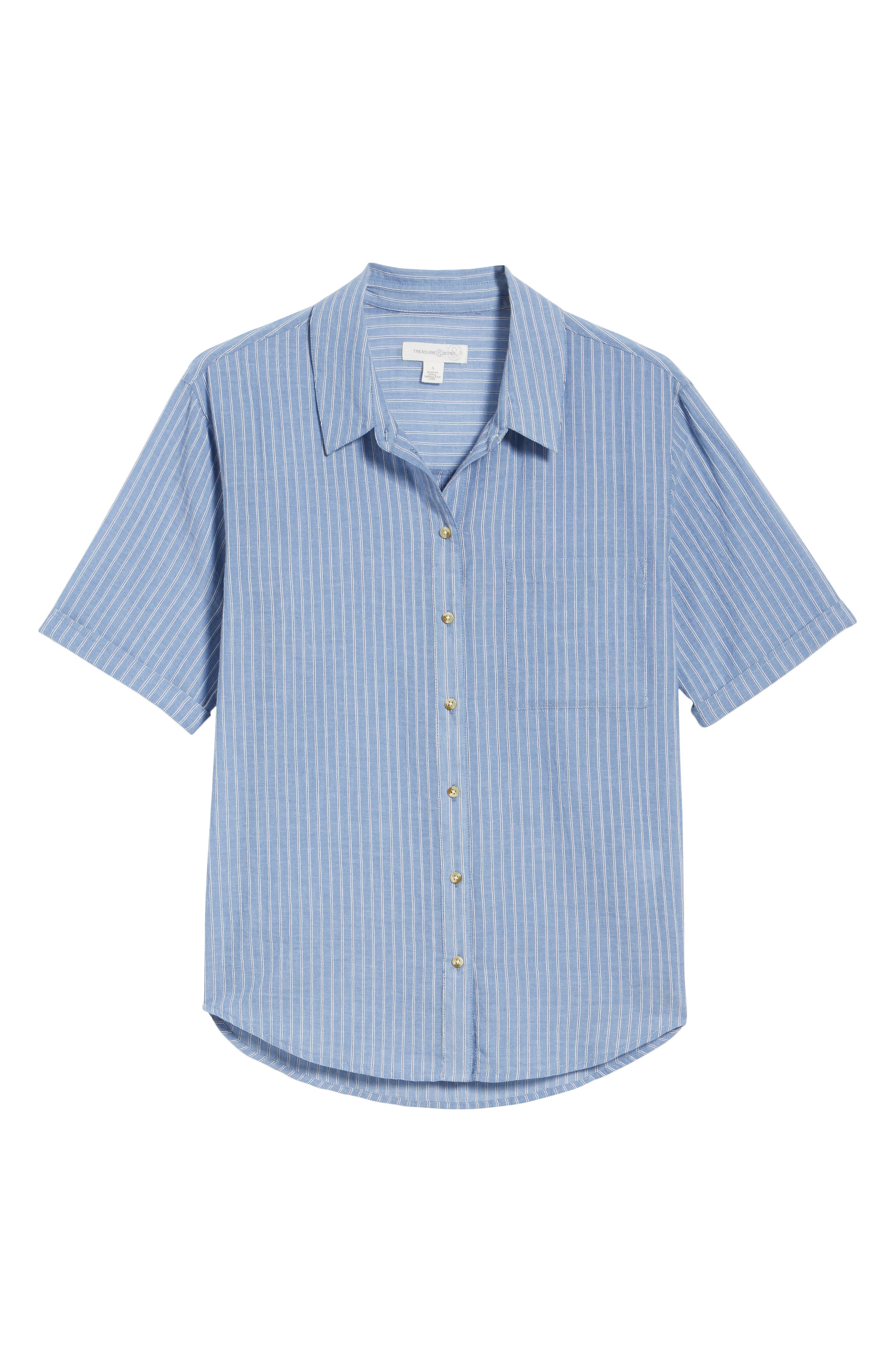 Stripe Button Front Shirt,                             Alternate thumbnail 6, color,                             Blue Airy Stripe
