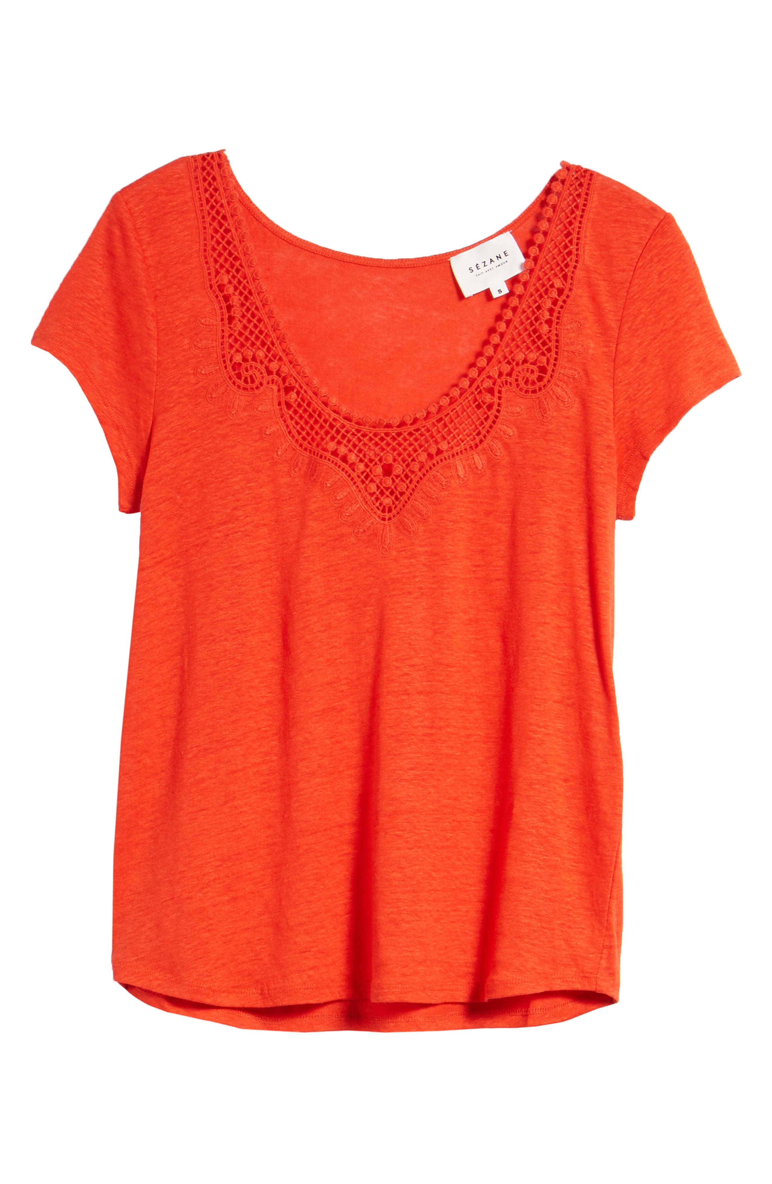 Loly Crochet Neck Linen Tee,                             Alternate thumbnail 6, color,                             Coral Red
