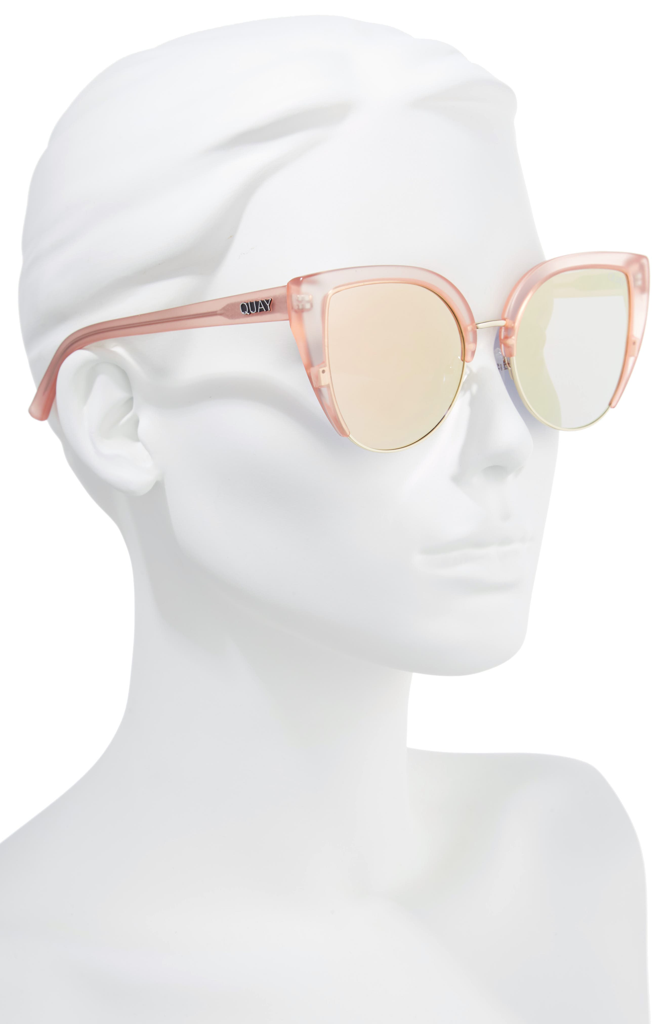x Missguided Oh My Dayz 53mm Sunglasses,                             Alternate thumbnail 3, color,                             Pink/ Gold