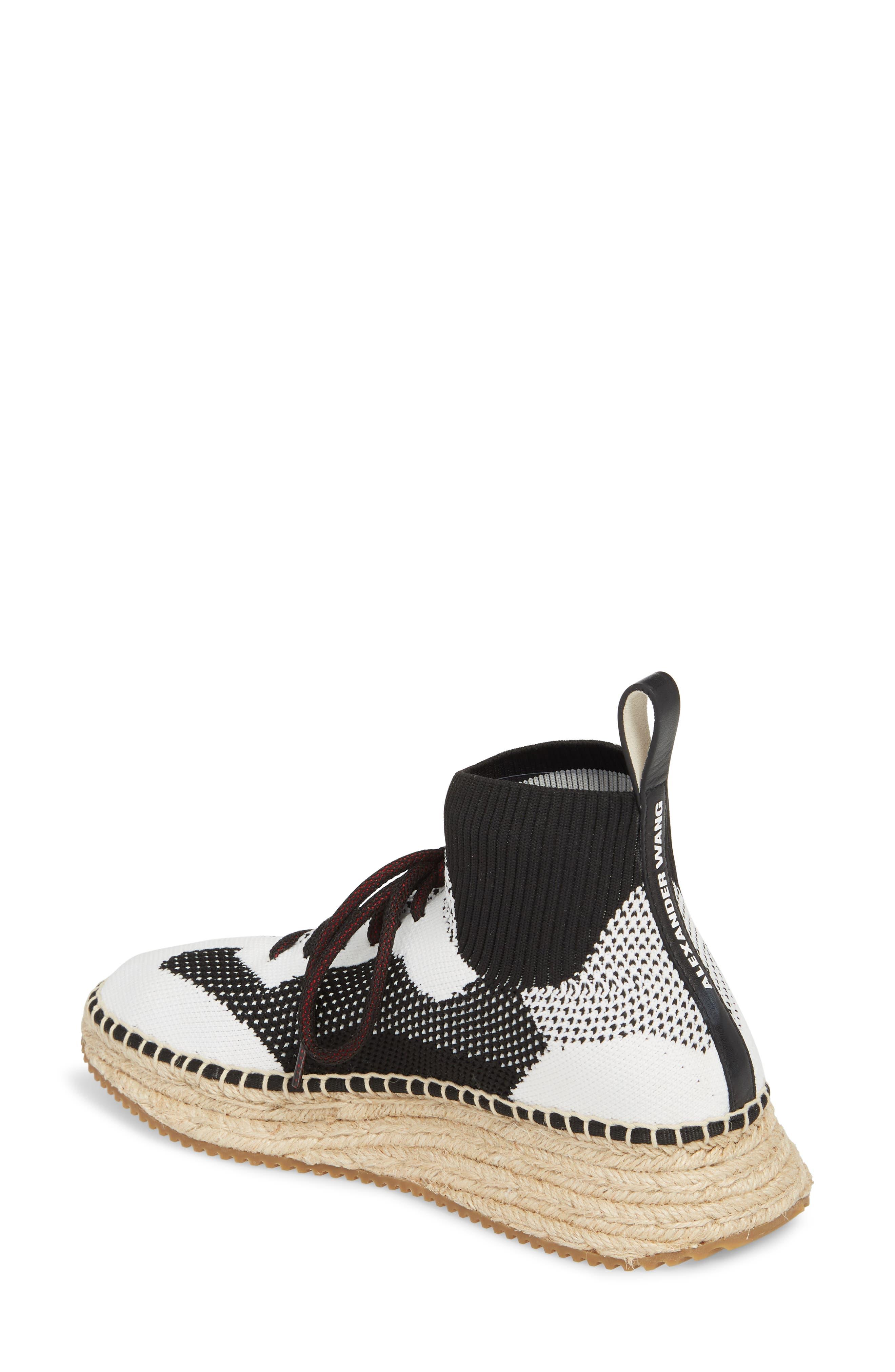 Dakota Espadrille Sock Sneaker,                             Alternate thumbnail 2, color,                             Black/ White/ Grey