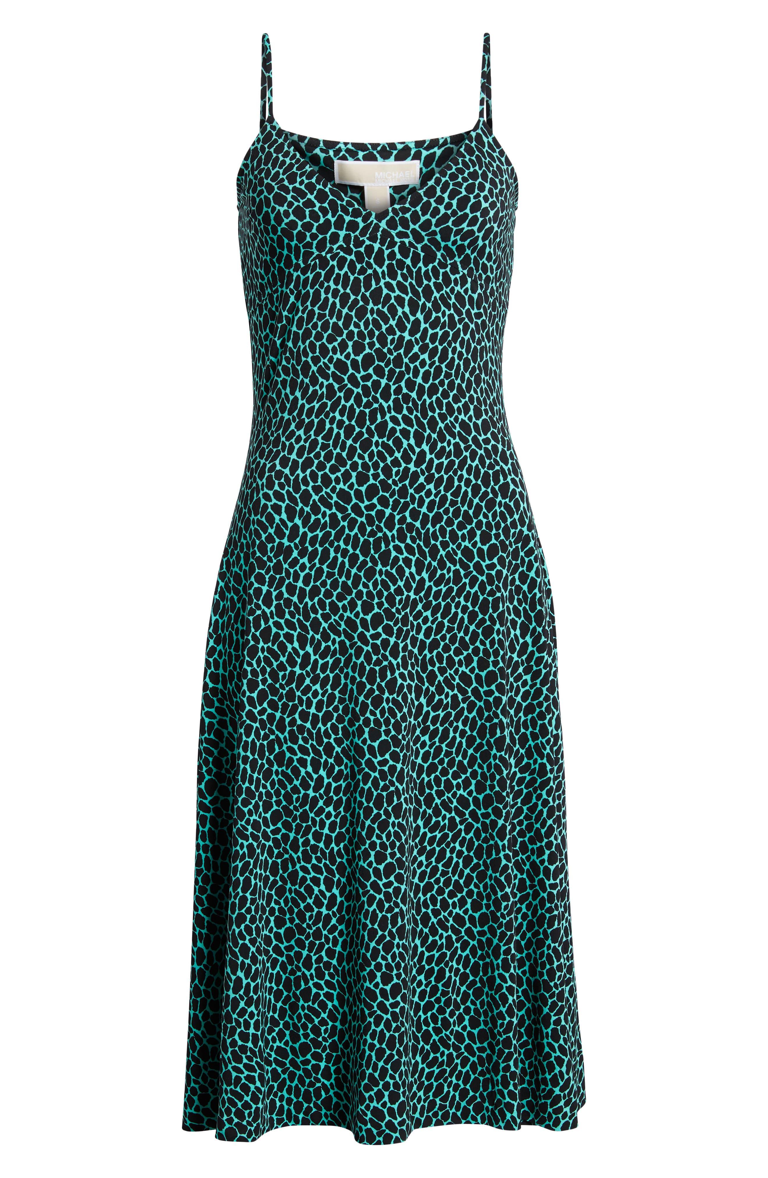Graphic Leopard Tank Midi Dress,                             Alternate thumbnail 7, color,                             Aqua/ Black