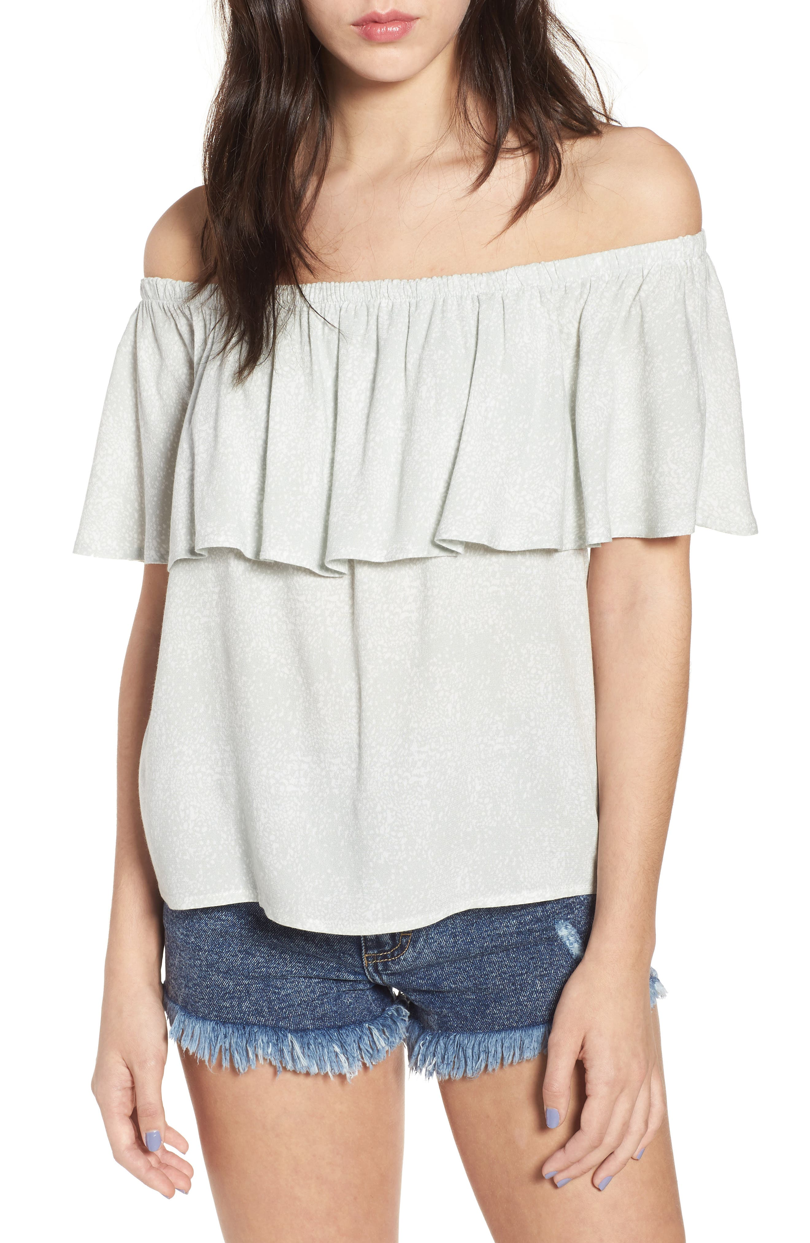 Mary Off the Shoulder Top,                             Main thumbnail 1, color,                             Dew