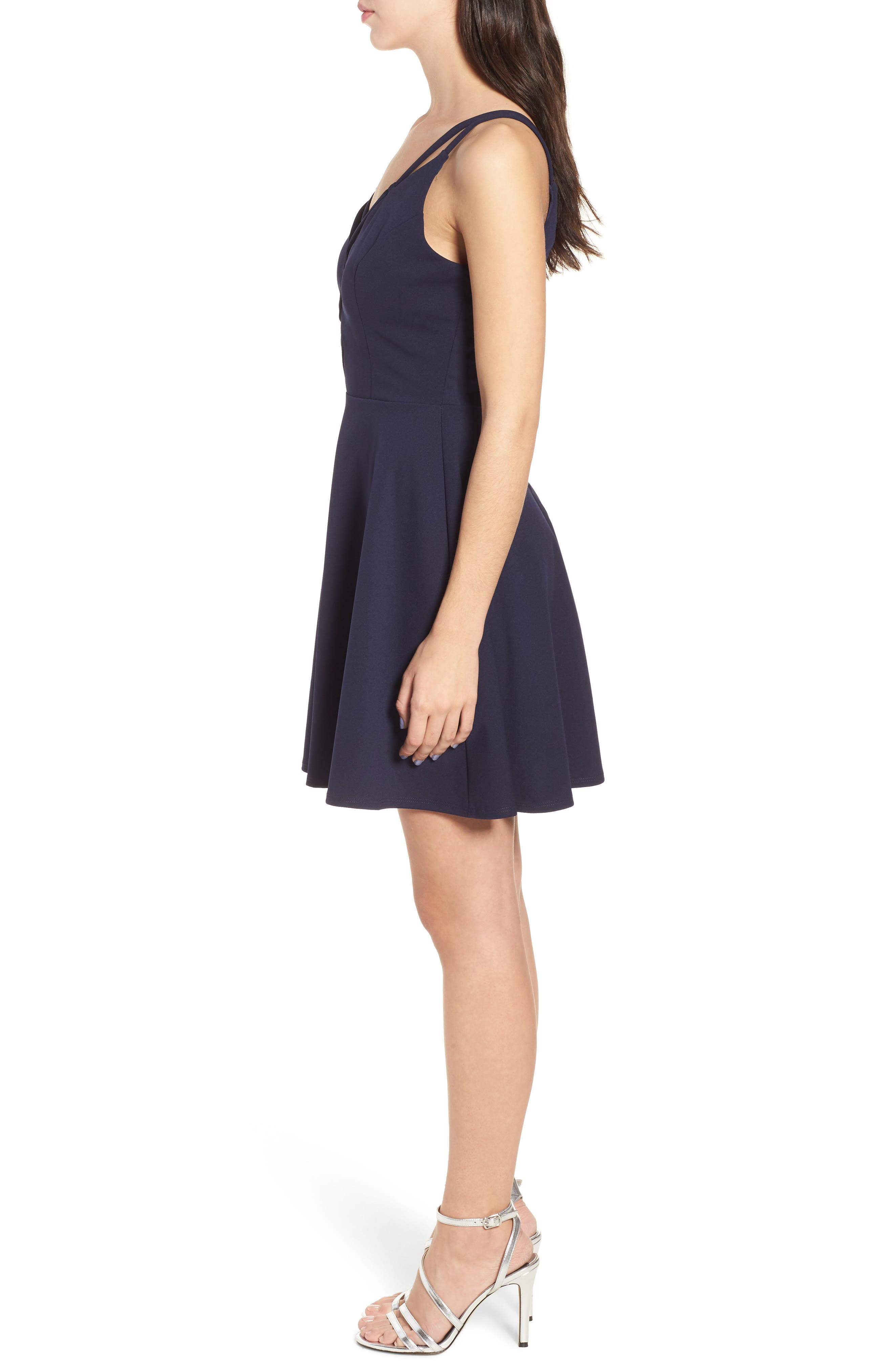Lace-Up Skater Dress,                             Alternate thumbnail 3, color,                             Midnight