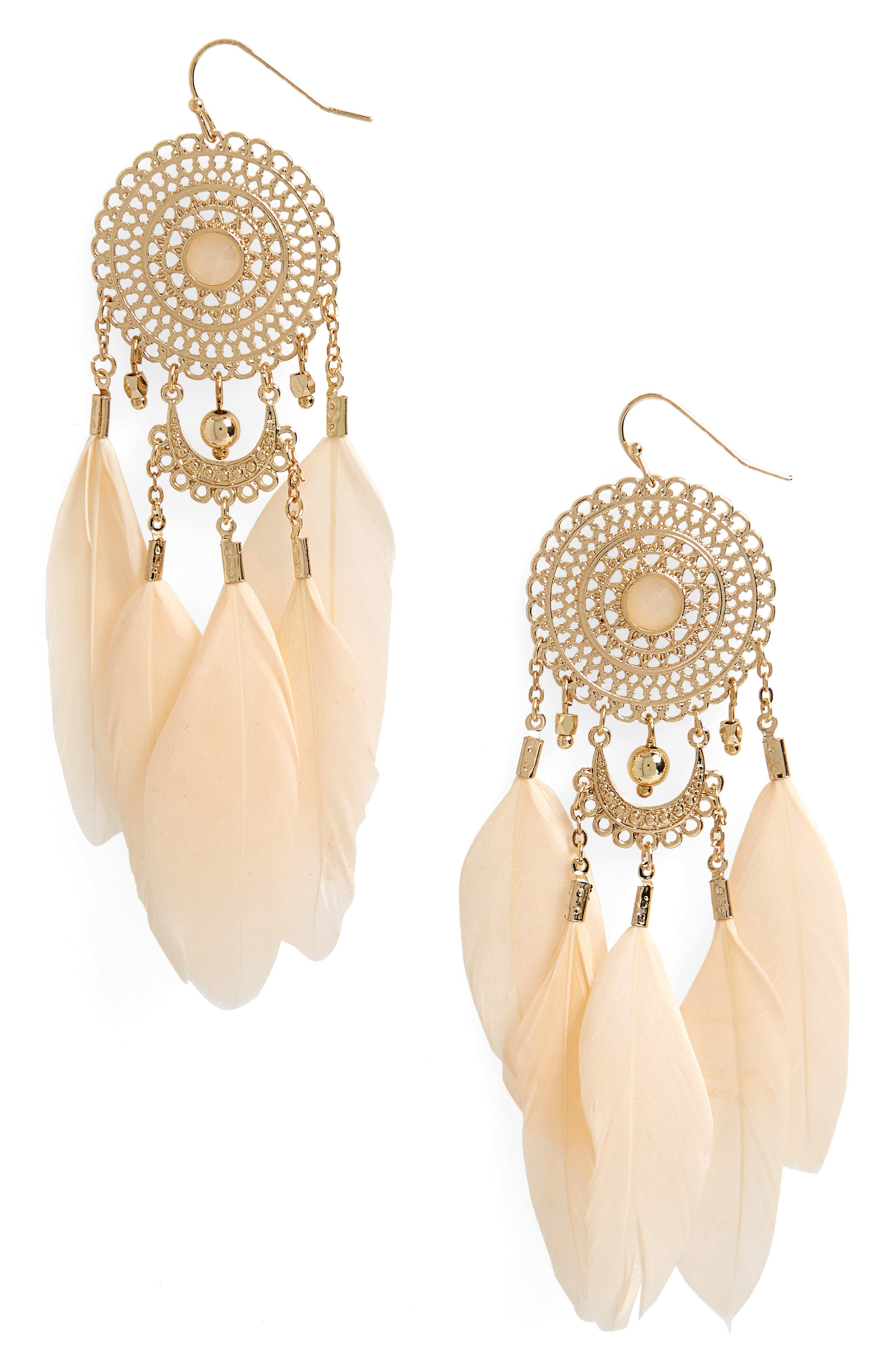 Feather Drop Earrings,                             Main thumbnail 1, color,                             Gold/ Blush