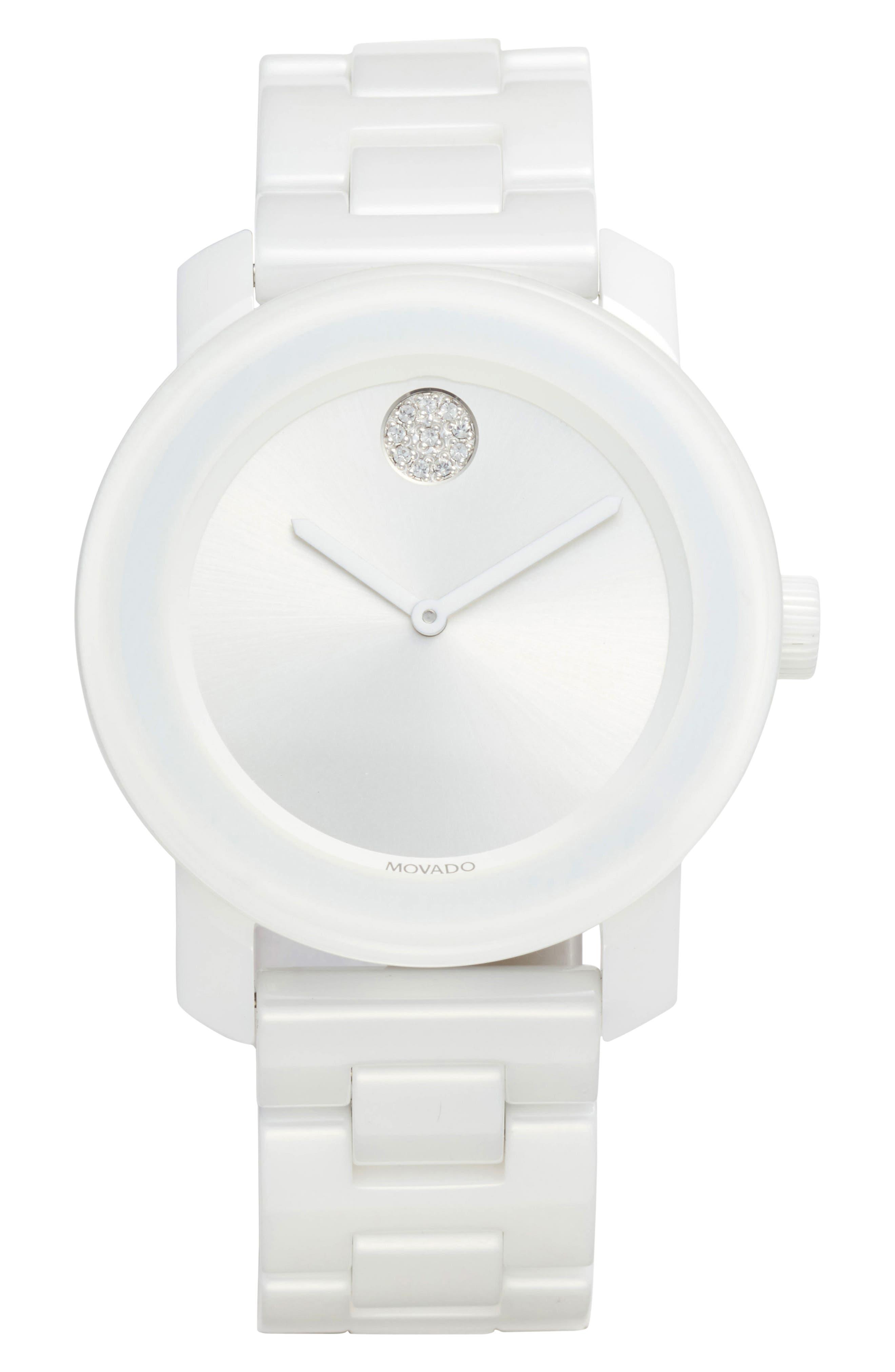 Bold Ceramic Bracelet Watch, 36mm,                         Main,                         color, White