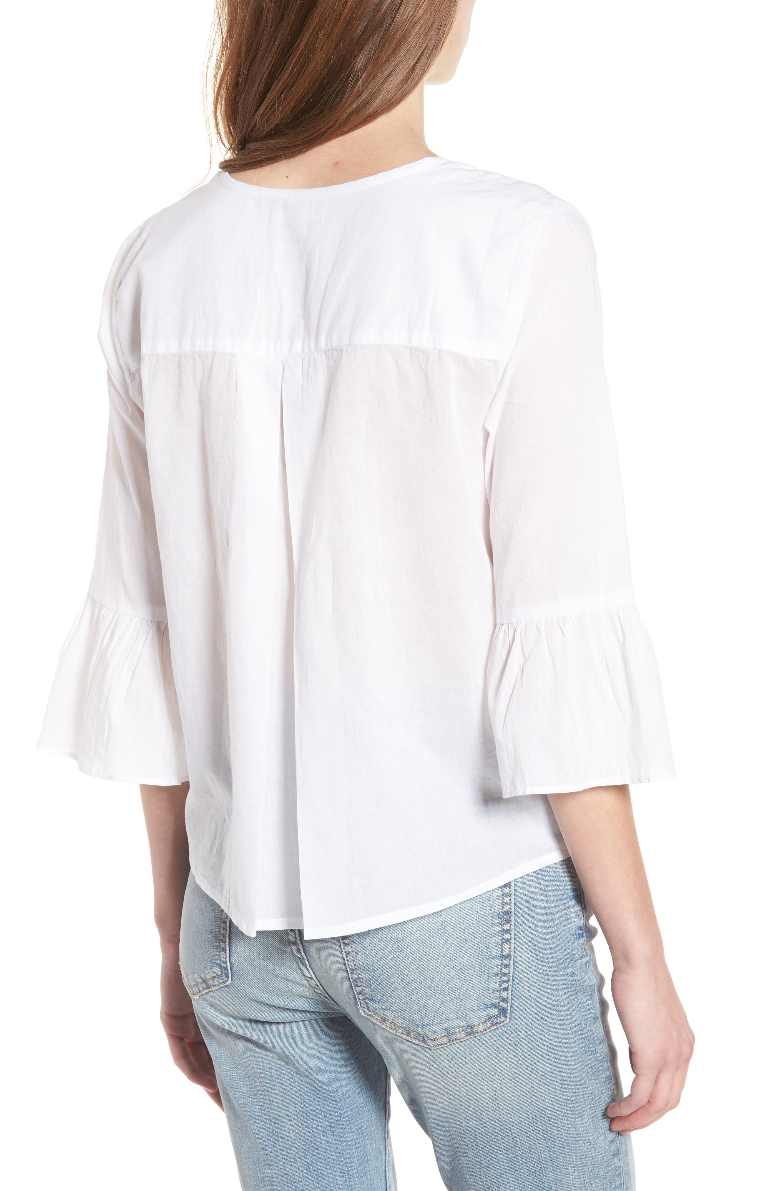 Embroidered Trumpet Sleeve Blouse,                             Alternate thumbnail 2, color,                             White