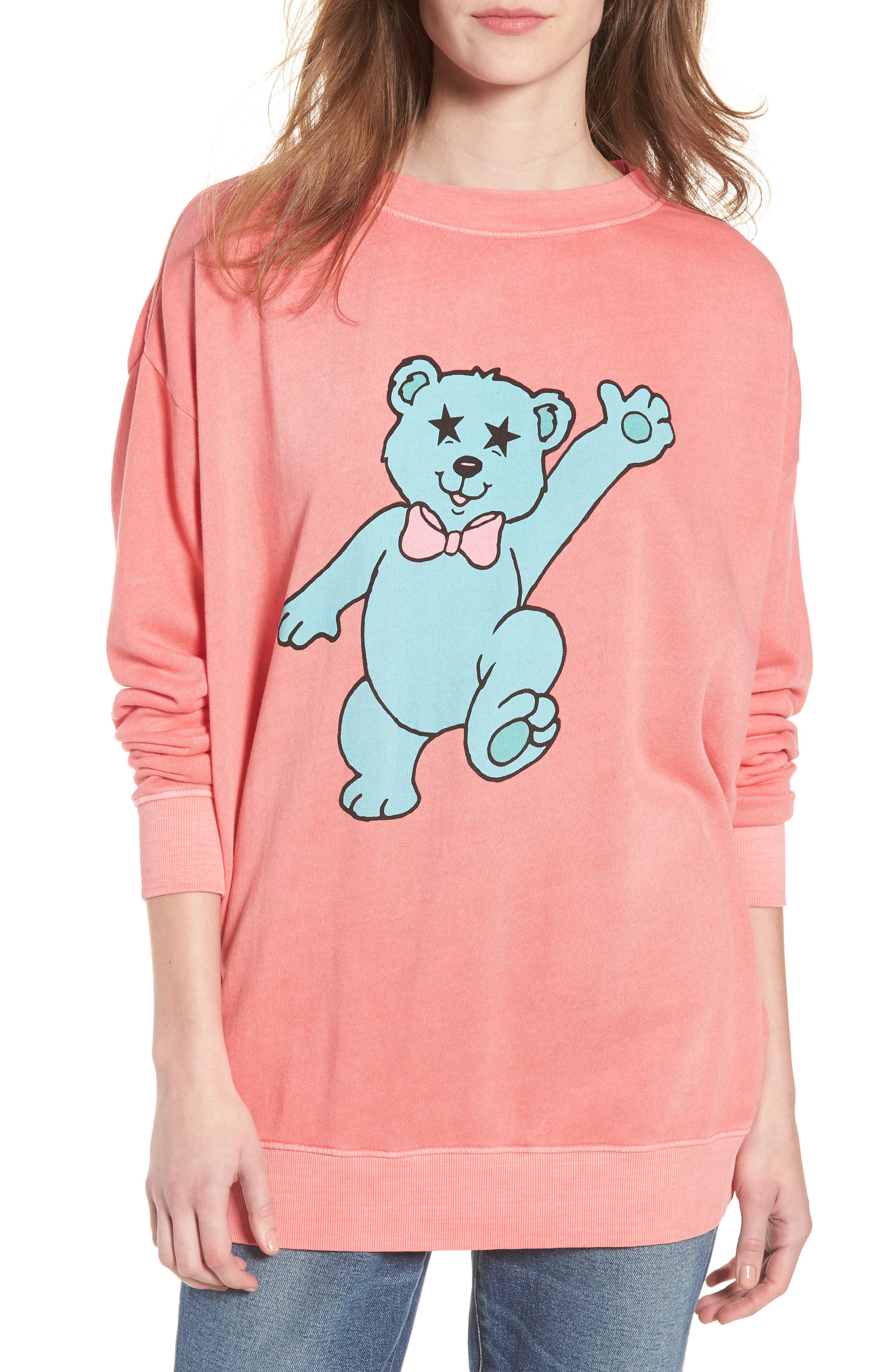 Groovy Teddy Road Trip Pullover Sweatshirt,                             Main thumbnail 1, color,                             Pigment Red Flare