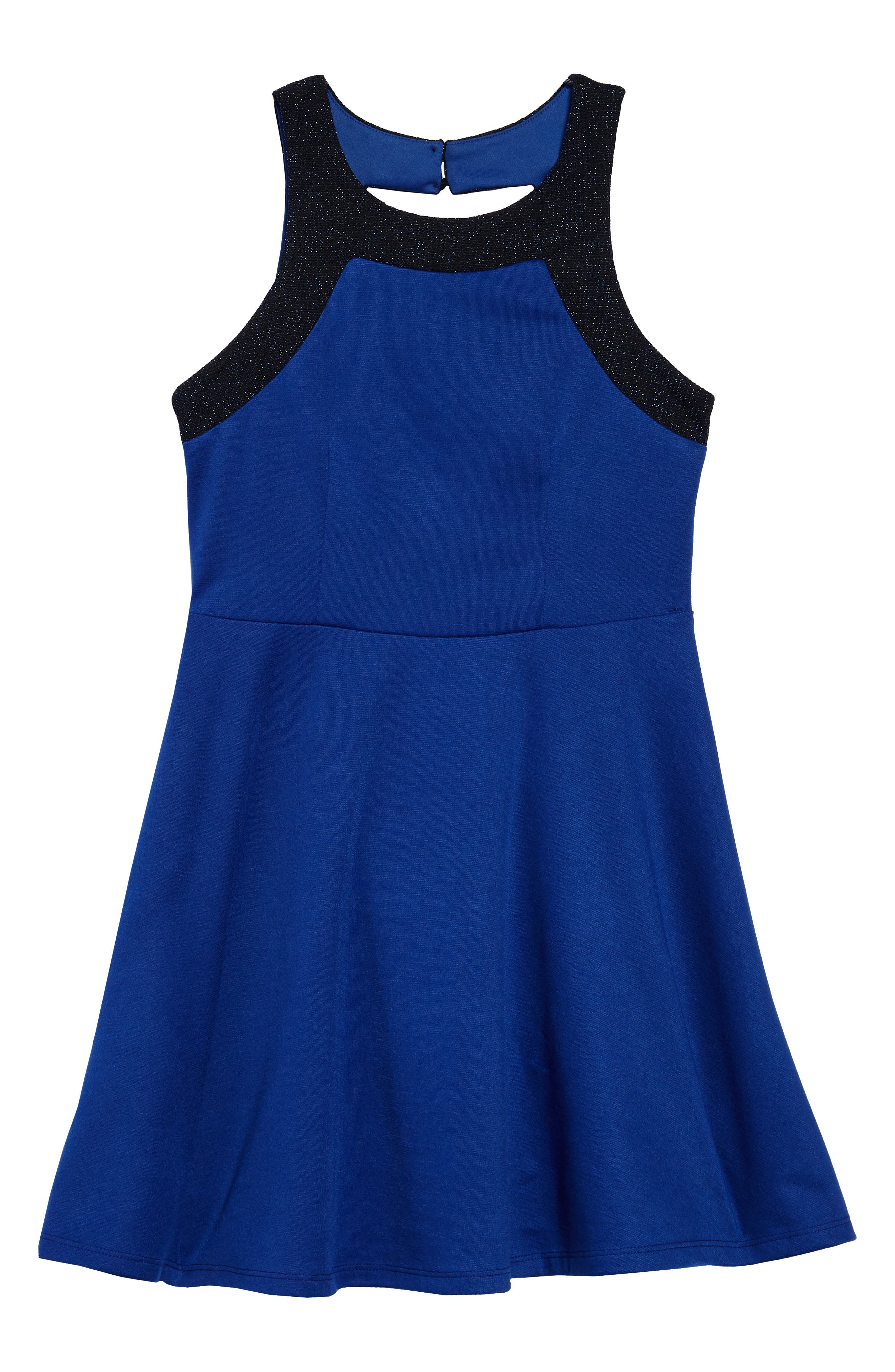 Heather Open Back Dress,                         Main,                         color, Royal