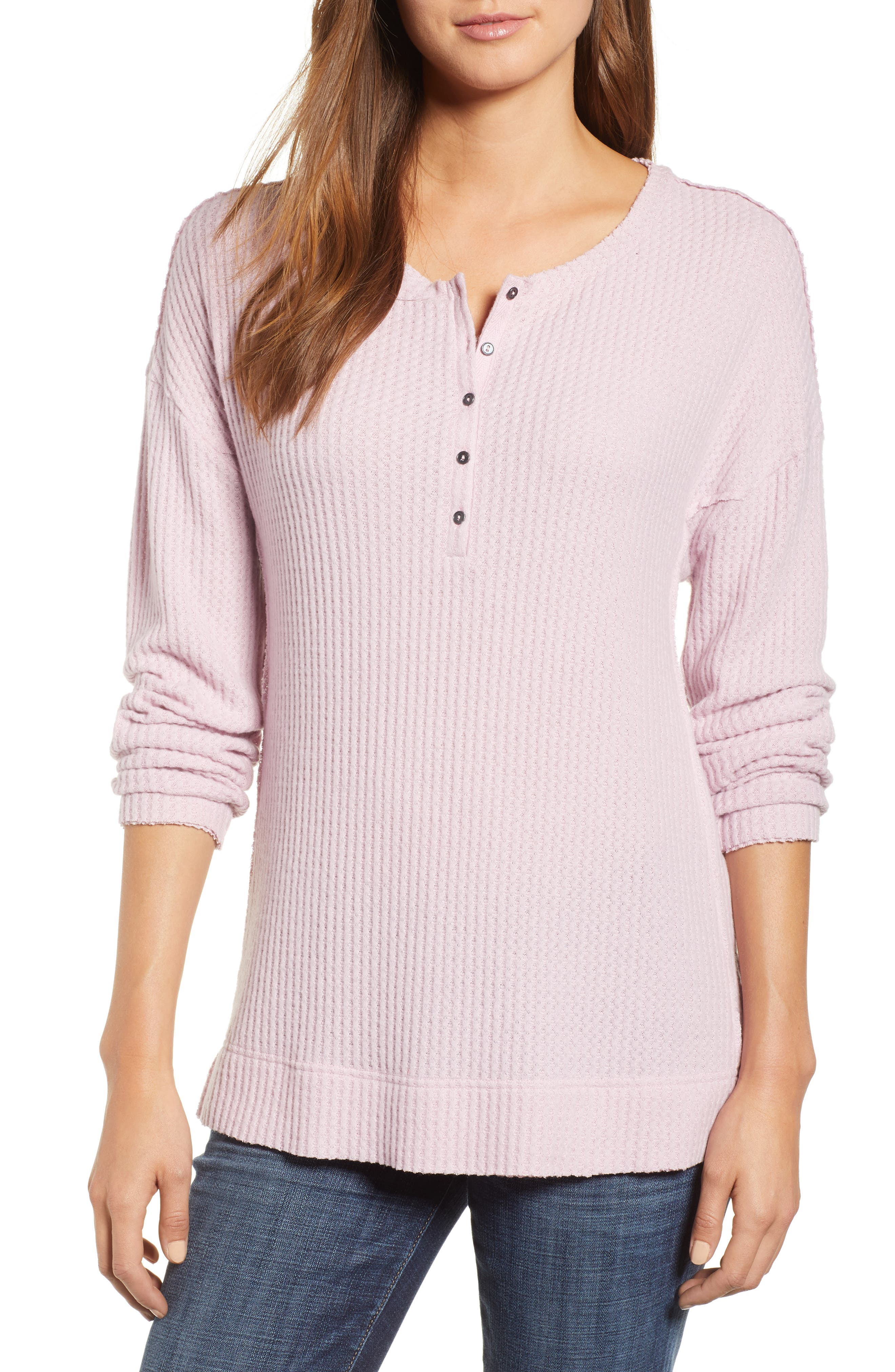 Thermal Henley Top, Main, color, Purple Fragrant