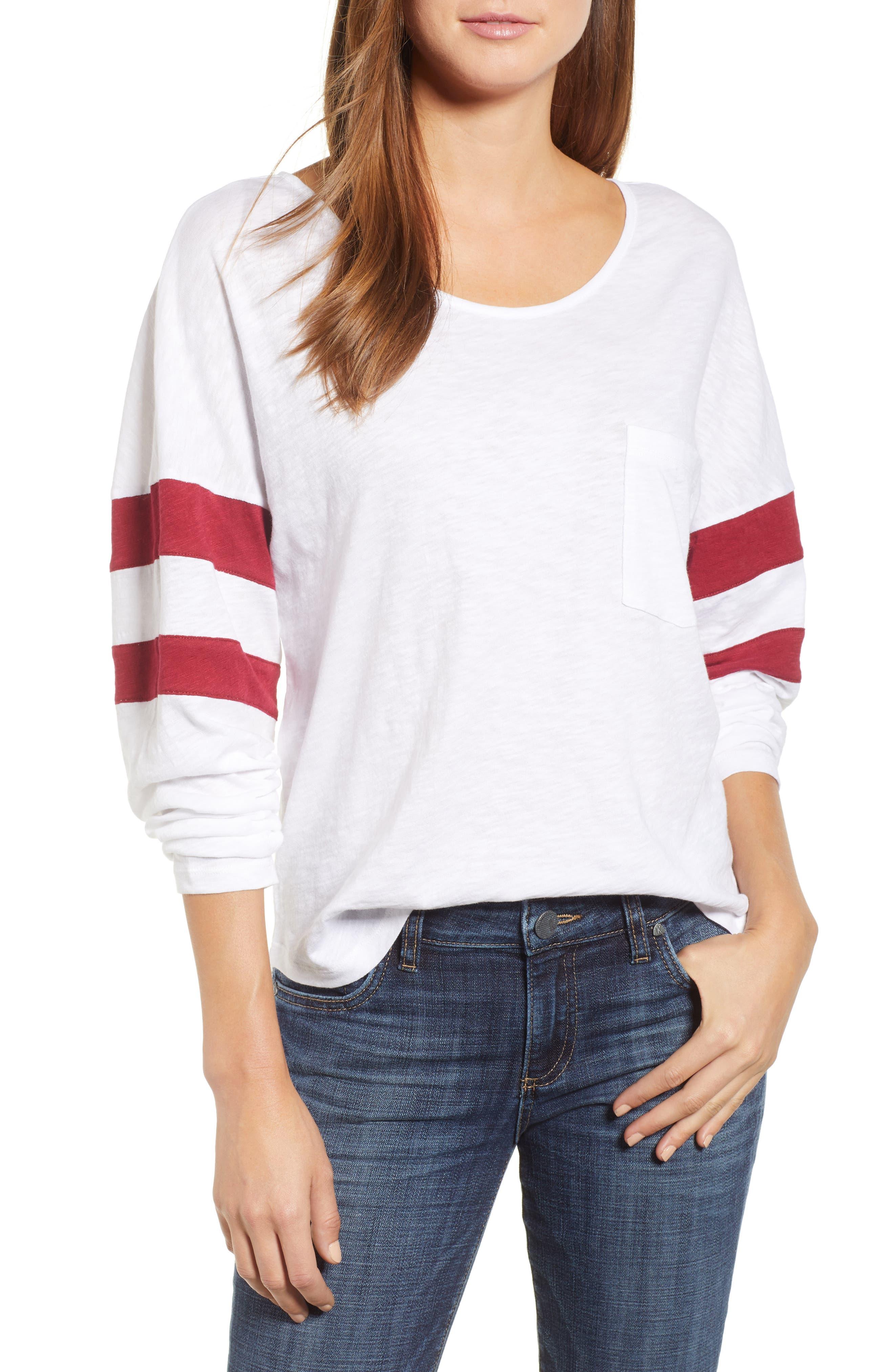 Varsity Stripe Tee,                         Main,                         color, White- Red Rhumba