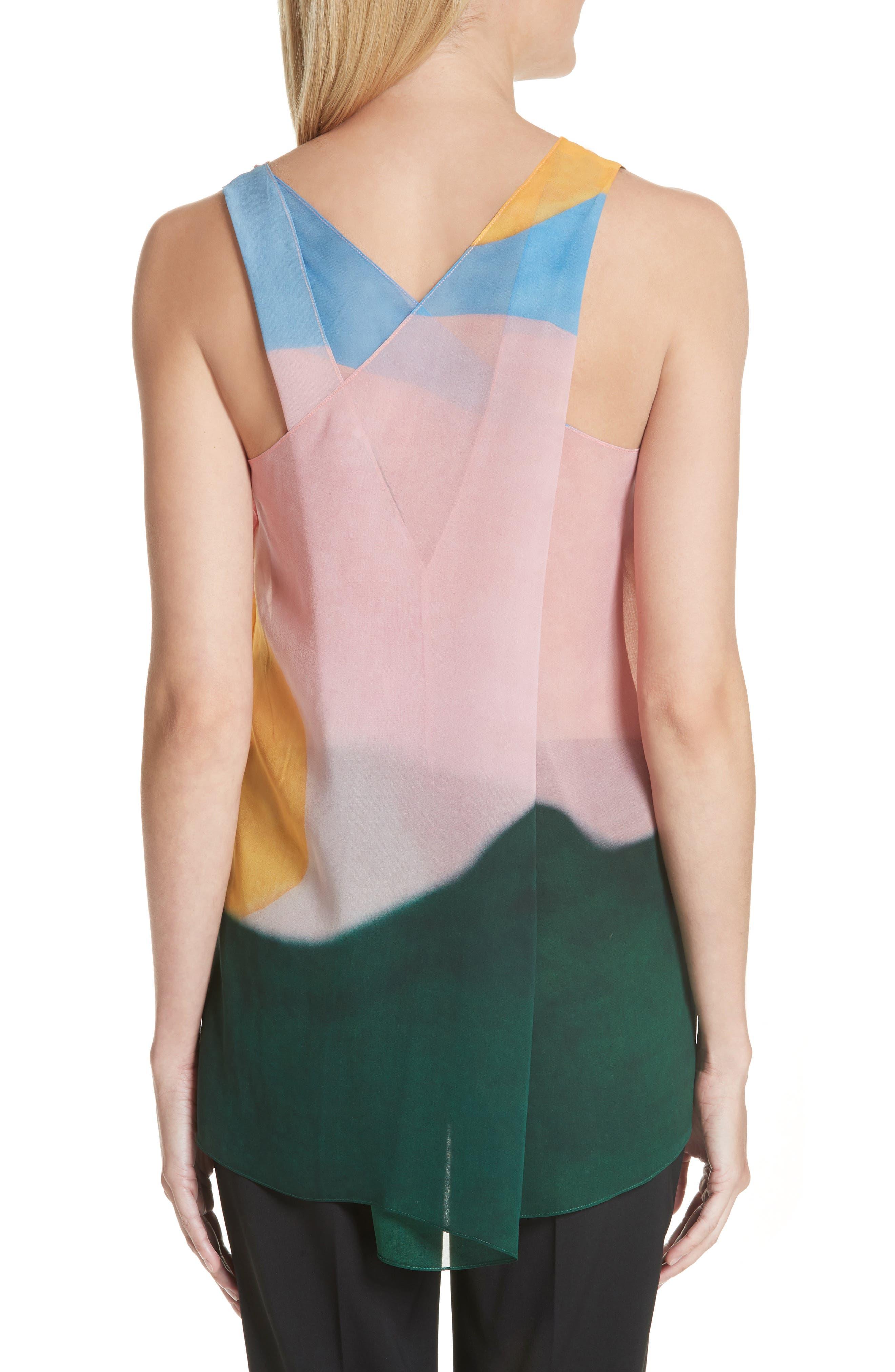 Watercolor Silk Georgette Tank,                             Alternate thumbnail 2, color,                             Multi